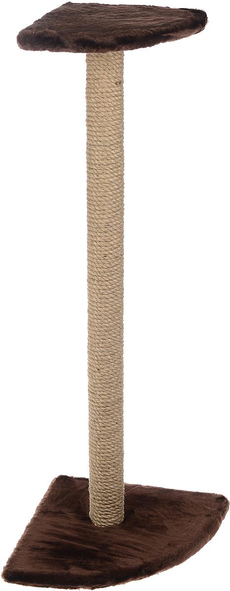 Когтеточка ЗооМарк, угловая, с полкой, цвет: темно-коричневый, высота 101 см102-2Угловая когтеточка ЗооМарк поможет сохранить мебель и ковры в доме от когтей вашего любимца, стремящегося удовлетворить свою естественную потребность точить когти. Когтеточка изготовлена из дерева, искусственного меха и джута. Товар продуман в мельчайших деталях и, несомненно, понравится вашей кошке. Сверху имеется полка. Всем кошкам необходимо стачивать когти. Когтеточка - один из самых необходимых аксессуаров для кошки. Для приучения к когтеточке можно натереть ее сухой валерьянкой или кошачьей мятой. Когтеточка поможет вашему любимцу стачивать когти и при этом не портить вашу мебель. Размер основания: 36 х 36 см. Высота когтеточки: 101 см. Размер полки: 25 х 25 см.