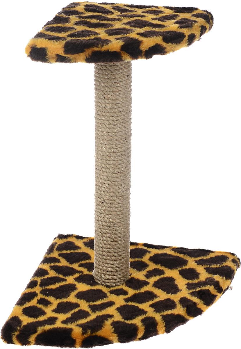 Когтеточка ЗооМарк, угловая, с полкой, цвет: жираф, высота 52 см102Угловая когтеточка ЗооМарк поможет сохранить мебель и ковры в доме от когтей вашего любимца, стремящегося удовлетворить свою естественную потребность точить когти. Когтеточка изготовлена из дерева, искусственного меха и джута. Товар продуман в мельчайших деталях и, несомненно, понравится вашей кошке. Сверху имеется полка. Всем кошкам необходимо стачивать когти. Когтеточка - один из самых необходимых аксессуаров для кошки. Для приучения к когтеточке можно натереть ее сухой валерьянкой или кошачьей мятой. Когтеточка поможет вашему любимцу стачивать когти и при этом не портить вашу мебель. Размер основания: 49 х 39 см. Высота когтеточки: 52 см. Размер полки: 35 х 27 см.