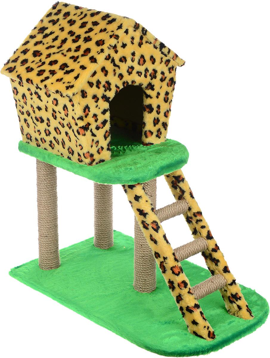 Домик-когтеточка ЗооМарк, с лестницей, цвет: леопардовый, зеленый, 75 х 45 х 85 см115_леопардовыйДомик-когтеточка ЗооМарк выполнен из высококачественного дерева и искусственного меха. Изделие предназначено для кошек. Ваш домашний питомец будет с удовольствием точить когти о специальный столбики, изготовленные из джута. А отдохнуть он сможет в домике, расположенном на втором этаже. Общий размер изделия: 75 х 45 х 85 см. Размер домика: 45 х 33 х 41 см.