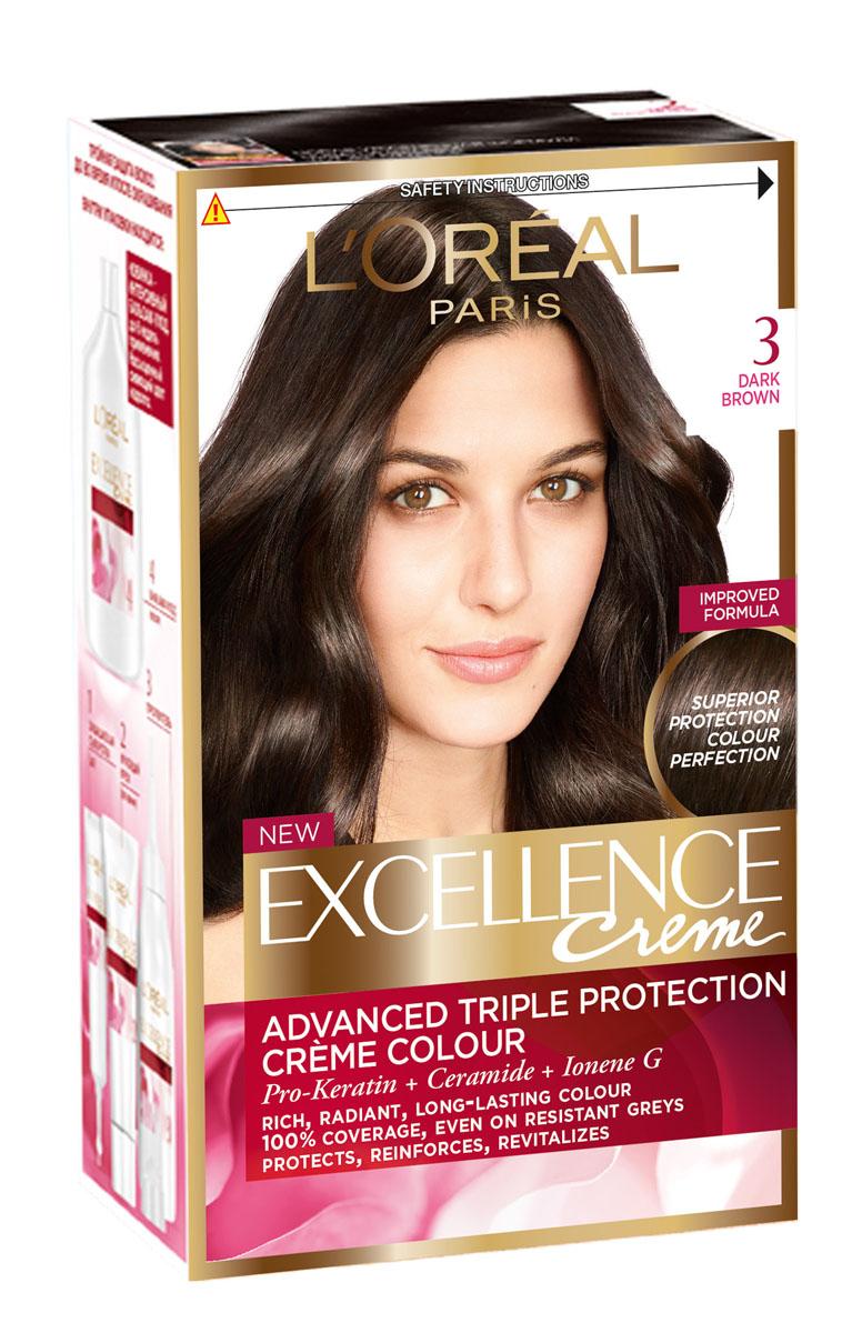 LOreal Paris Краска для волос Excellence, оттенок 3, темно-каштановый, 270 млA3671328Крем-краска Excellence защищает волосы ДО, ВО ВРЕМЯ и ПОСЛЕ окрашивания. Активная формула с Про-Кератином, Керамидами и активным компонентом Ионен G обеспечивает стойкий равномерный цвет и 100% закрашивание седины. Защитная сыворотка лечит поврежденные участки волос. Густой красящий крем обволакивает каждый волос и насыщает его цветом. Бальзам-уход восстанавливает, укрепляет и уплотняет волосы.
