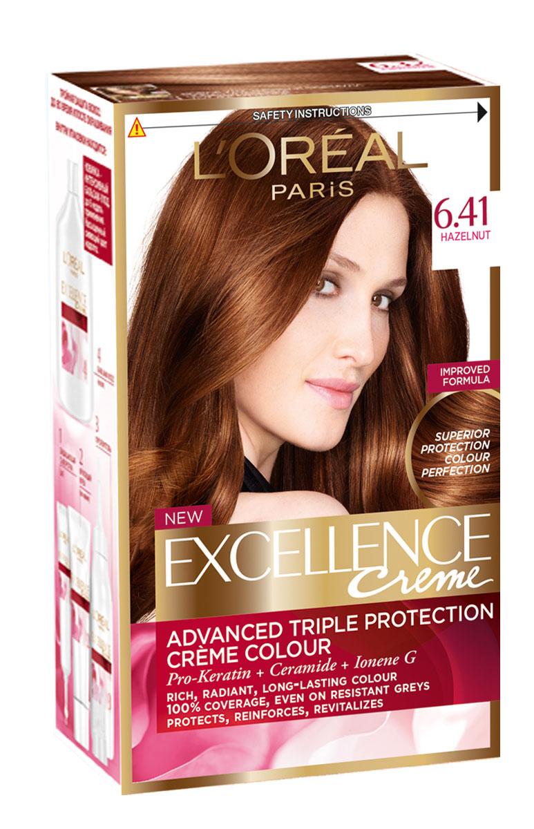 LOreal Paris Краска для волос Excellence, оттенок 6.41, медный темно-русый пепельный, 270 млA4381228Крем-краска Excellence защищает волосы ДО, ВО ВРЕМЯ и ПОСЛЕ окрашивания. Активная формула с Про-Кератином, Керамидами и активным компонентом Ионен G обеспечивает стойкий равномерный цвет и 100% закрашивание седины. Защитная сыворотка лечит поврежденные участки волос. Густой красящий крем обволакивает каждый волос и насыщает его цветом. Бальзам-уход восстанавливает, укрепляет и уплотняет волосы.