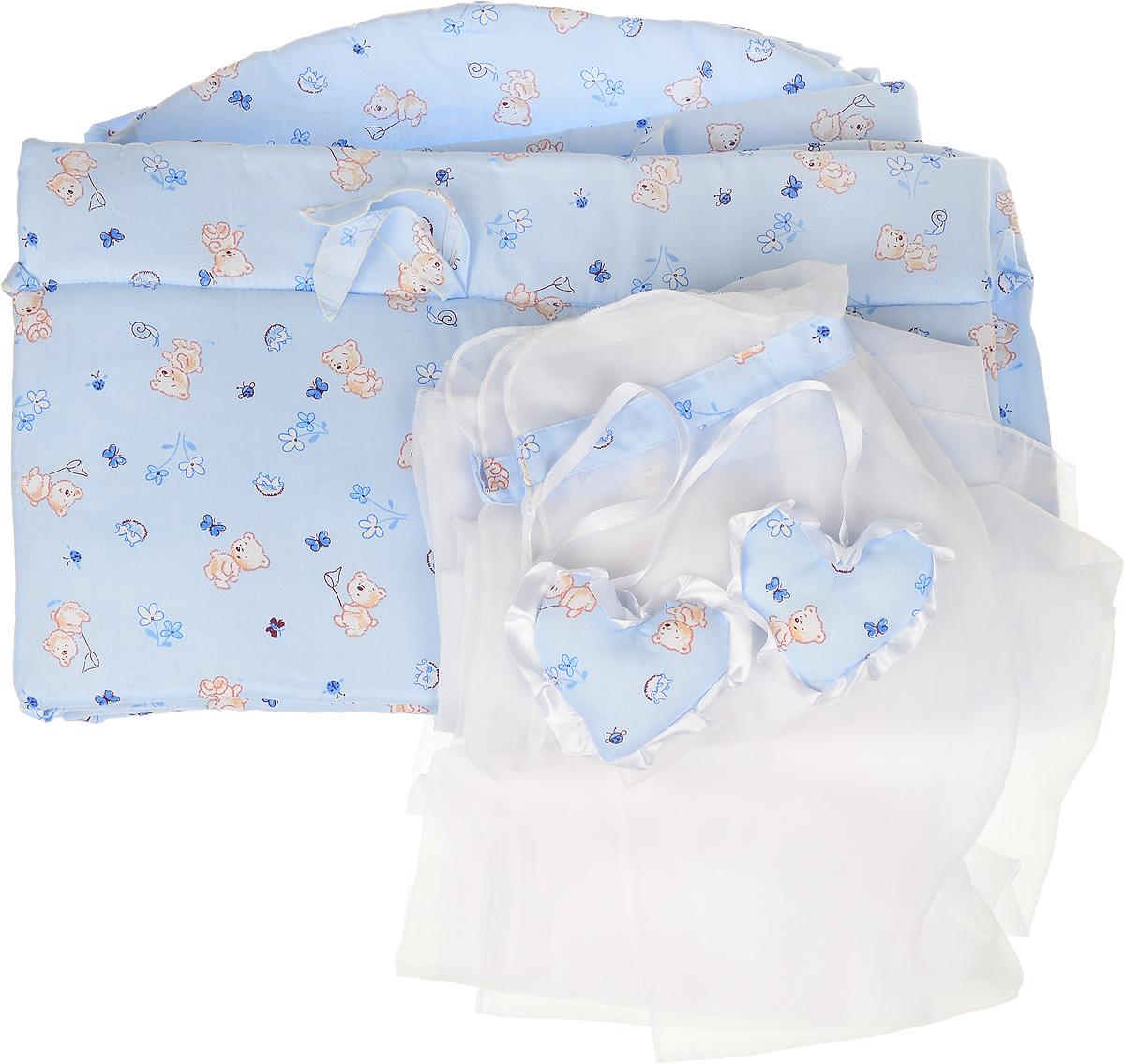 Фея Комплект в кроватку Мишки цвет голубой 2 предмета1047_голубойКомплект в кроватку Фея Мишки состоит из бортика и балдахина. Бортик в кроватку состоит из четырех частей и закрывает весь периметр кроватки. Бортик крепится к кроватке с помощью специальных завязок, благодаря чему его можно поместить в любую детскую кроватку. Бортик выполнен из натурального хлопка безупречной выделки. Деликатные швы рассчитаны на прикосновение к нежной коже ребенка. Борт оформлен изображениями забавных плюшевых медвежат. Балдахин, выполненный из полиэстера, может использоваться как для люльки, так и для кроватки. Сверху балдахин декорирован вставкой из хлопка с рисунком. Изделие оснащено двумя атласными лентами с мягкими игрушками в виде сердец на концах. Ленты завязываются на бант.