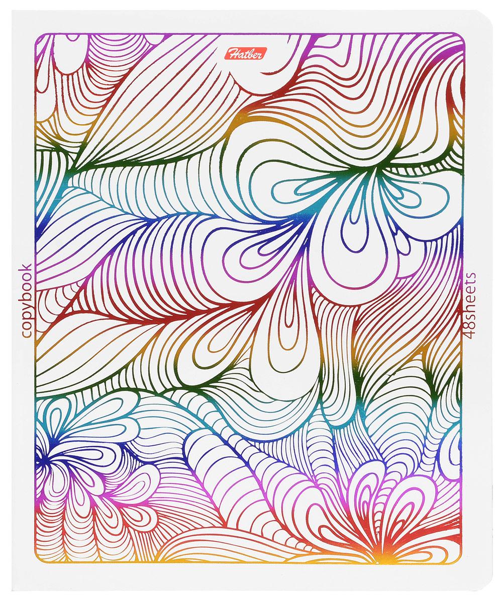 Hatber Тетрадь Rainbow 48 листов в клетку 1453348Т5фВ1_14533Тетрадь Hatber Rainbow отлично подойдет для занятий школьнику, студенту или для различных записей. Обложка, выполненная из плотного картона, украшена тиснением радужной фольгой. Игра разноцветных металлизированных переливов в сочетании с оригинальными узорами дарит тетрадке магический эффект. Внутренний блок тетради, соединенный металлическими скрепками, состоит из 48 листов белой бумаги в голубую клетку с полями.