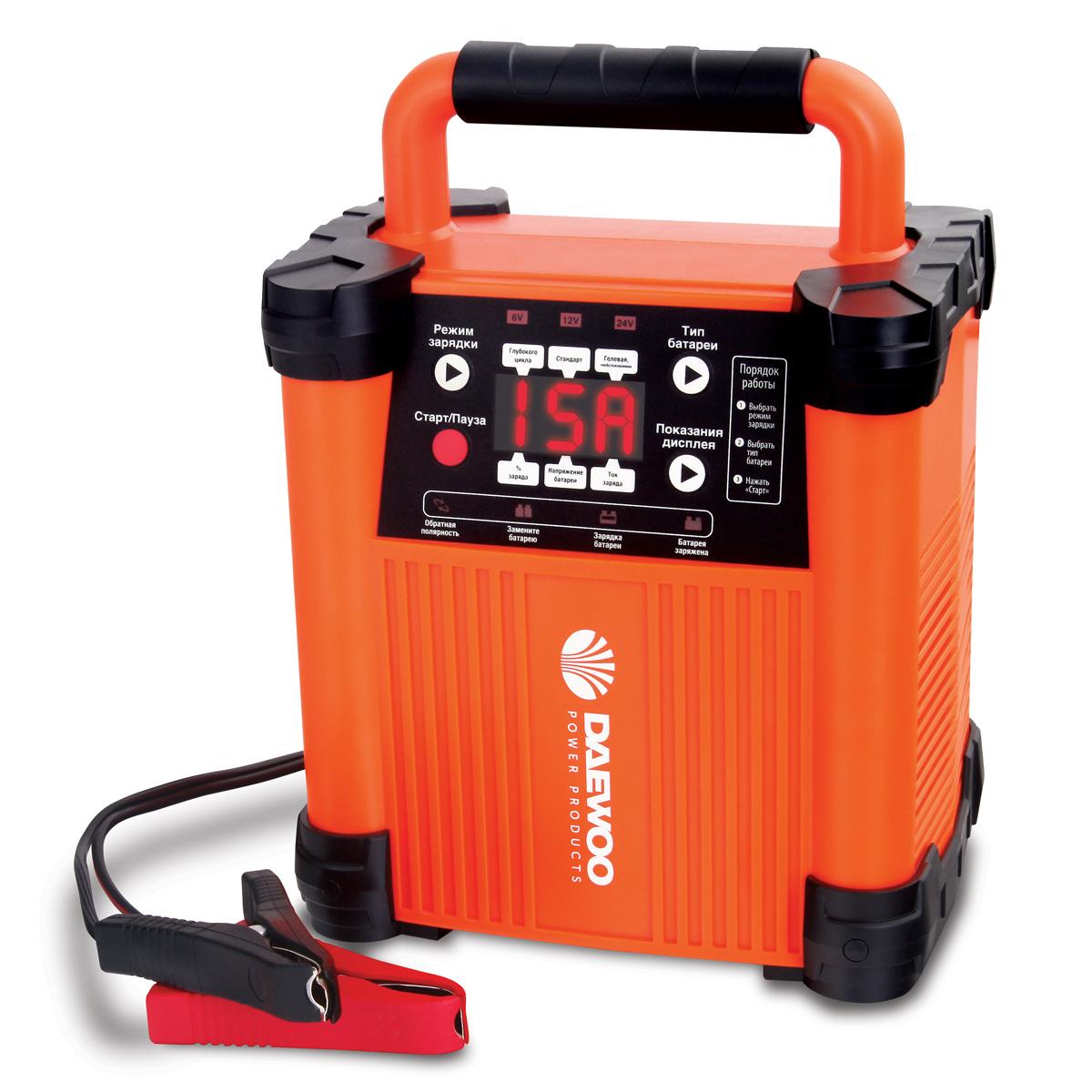 Интеллектуальное зарядное устройство Daewoo 6/12/24 ВDW1500Зарядное устройство DAEWOO. Выходное напряжение: 6/12/24 В Зарядный ток: 15 А Емкость АКБ: до 300 А/ч Количество ступеней зарядки: 6 Режим имитации АКБ: да Функция восстановления АКБ: да Встроенный тест АКБ: да Влагозащита: IP20 Защита от перегрева: да Режим быстрого пуска: да
