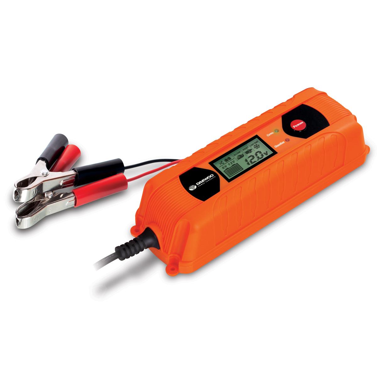 Интеллектуальное зарядное устройство Daewoo 6/12 ВDW400Зарядное устройство DAEWOO. Выходное напряжение: 6/12 В Зарядный ток: 4 А Емкость АКБ: до 160 А/ч Количество ступеней зарядки: 9 Режим имитации АКБ: да Функция восстановления АКБ: да Встроенный тест АКБ: да Влагозащита: IP65 Защита от перегрева: да Режим быстрого пуска: да