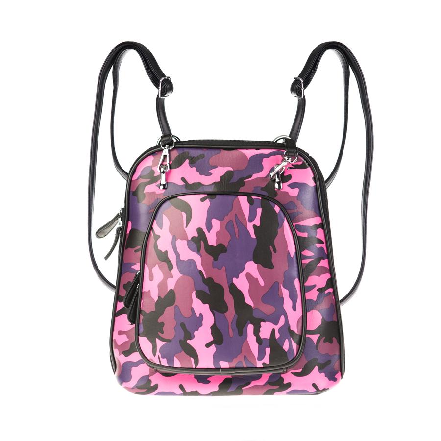 Рюкзак женский OrsOro, фуксия-розовый D-134/39D-134/39Рюкзак-сумка трансформер с двумя отделениями, передним карманом на молнии, перегородка на молнии. Внутренний карман на молнии, карман для телефона, задний карман на молнии