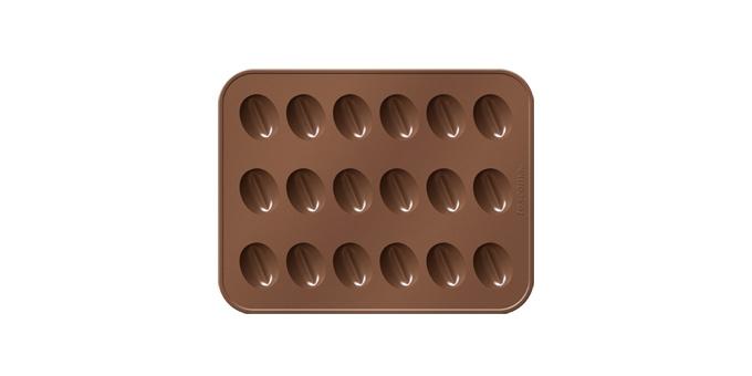 Формочки для кофейных зерен Tescoma Delicia. Choco629373Идеально подходят для быстрого и легкого приготовления кофейных зерен, шоколадных конфет и т.д. Сделано из высококачественного гибкого и термостойкого силикона, готовые кофейные зерна не прилипают к формочкам и легко вынимаются. Идет в комплекте с практической складной подставкой для экономии места при использовании. Подходит для холодильника, морозильника, микроволновой печи, можно мыть в посудомоечной машине. Рецепты внутри упаковки.