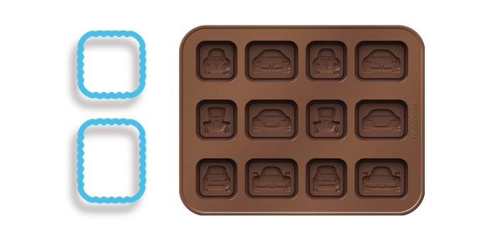 Форма для шоколада Tescoma Delicia. Silicone. Машинки, с подставкой, с 2 формами для печенья, 12 ячеек630961Форма Tescoma Delicia Silicone. Машинки отлично подходит для создания оригинальных шоколадных конфет и многих других деликатесов в домашних условиях. Форма изготовлена из отличного гибкого термостойкого силикона. Шоколад не прилипает и легко отделяется. В комплект входит практичная подставкой из пластика и две формы для печенья, также прилагаются рецепты. Форма подходит для холодильника, морозильной камеры, микроволновой печи и посудомоечной машины. Рецепты прилагаются. Количество ячеек: 12 шт. Размер формы для шоколада: 18 х 14 см.