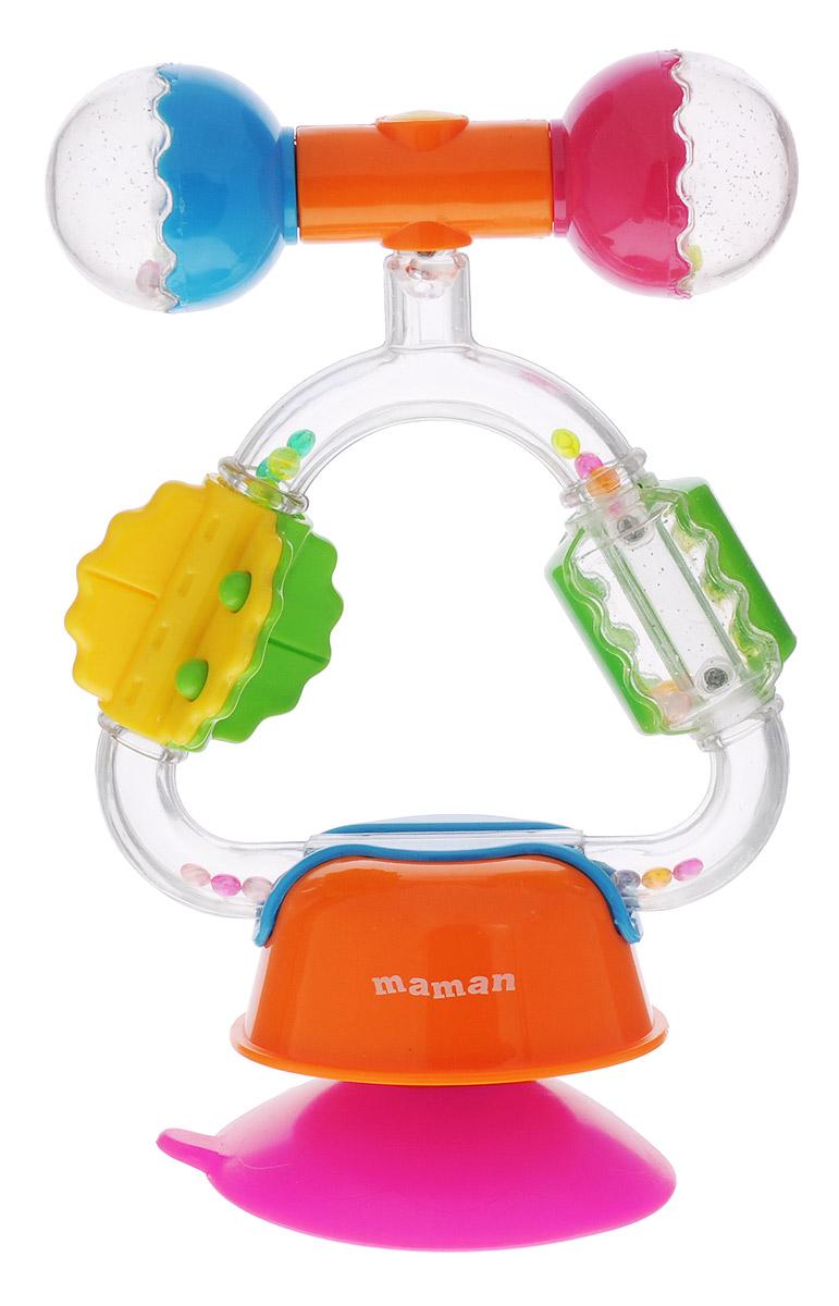 Maman Развивающая игрушка Карусель 10281028Развивающая игрушка Maman Карусель с вращающимися частями, наполнена цветными шариками. Игрушка снабжена присоской, при помощи которой ее можно закрепить на любой гладкой поверхности, например, на столике стульчика для кормления. Внутри прозрачных элементов находятся маленькие цветные шарики. Игры с игрушкой развивают зрение, слух, тактильную чувствительность, координацию движений. Перед использованием необходимо извлечь игрушку из упаковки, вымыть с мылом и вытереть насухо.