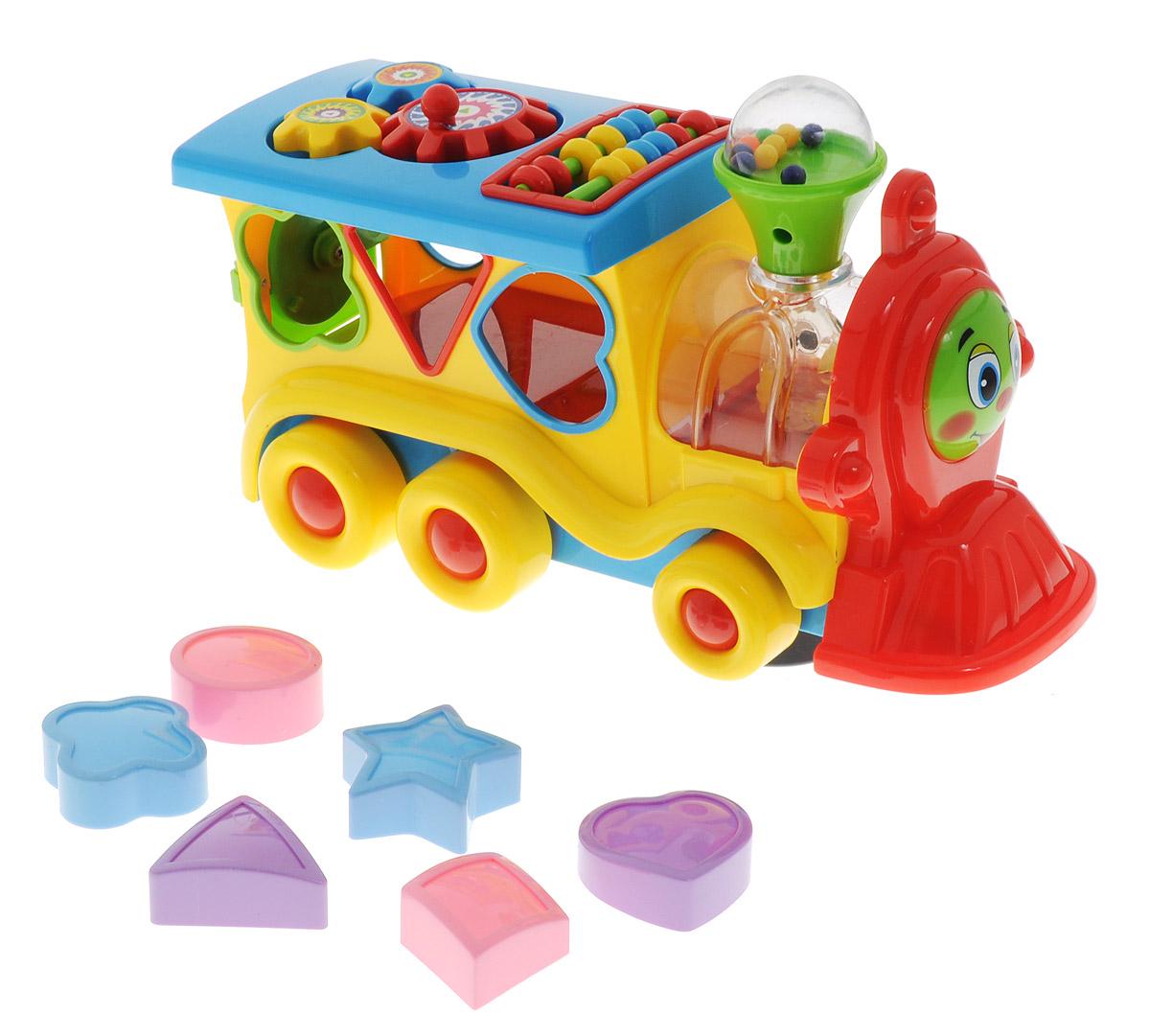 Умка Развивающая игрушка Обучающий паровозик цвет желтыйB746947-R_желтыйРазвивающая игрушка Умка Обучающий паровозик - лучший подарок для маленького ребенка. Ваш малыш разовьет музыкальные и сенсорные способности, наглядно-образное мышление и логико-математические способности. Звук паровоза и песня не дадут заскучать малышу. Играя с фигурами, он разовьет мелкую моторику и тактильные ощущения. С таким паровозиком день будет наполнен увлекательными и одновременно познавательными играми. Необходимо купить 3 батарейки напряжением 1,5V типа АА (не входят в комплект).