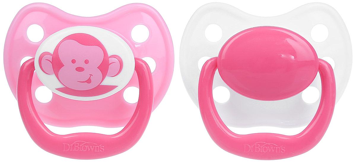 Dr.Brown's Пустышка силиконовая ортодонтическая от 12 месяцев цвет розовый 2 шт