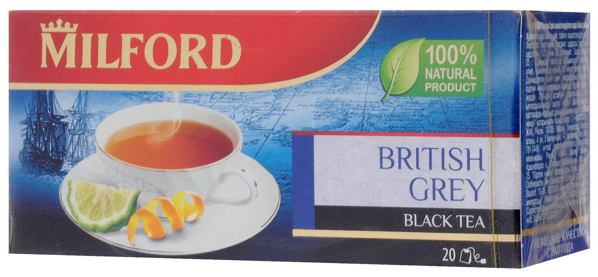 Milford Бритиш Грей черный чай в пакетиках, 20 штбая019Классический рецепт традиционного чая с бергамотом дополнен свежим ароматом апельсина. Он подчеркивает аромат и обновляет знакомый вкус.