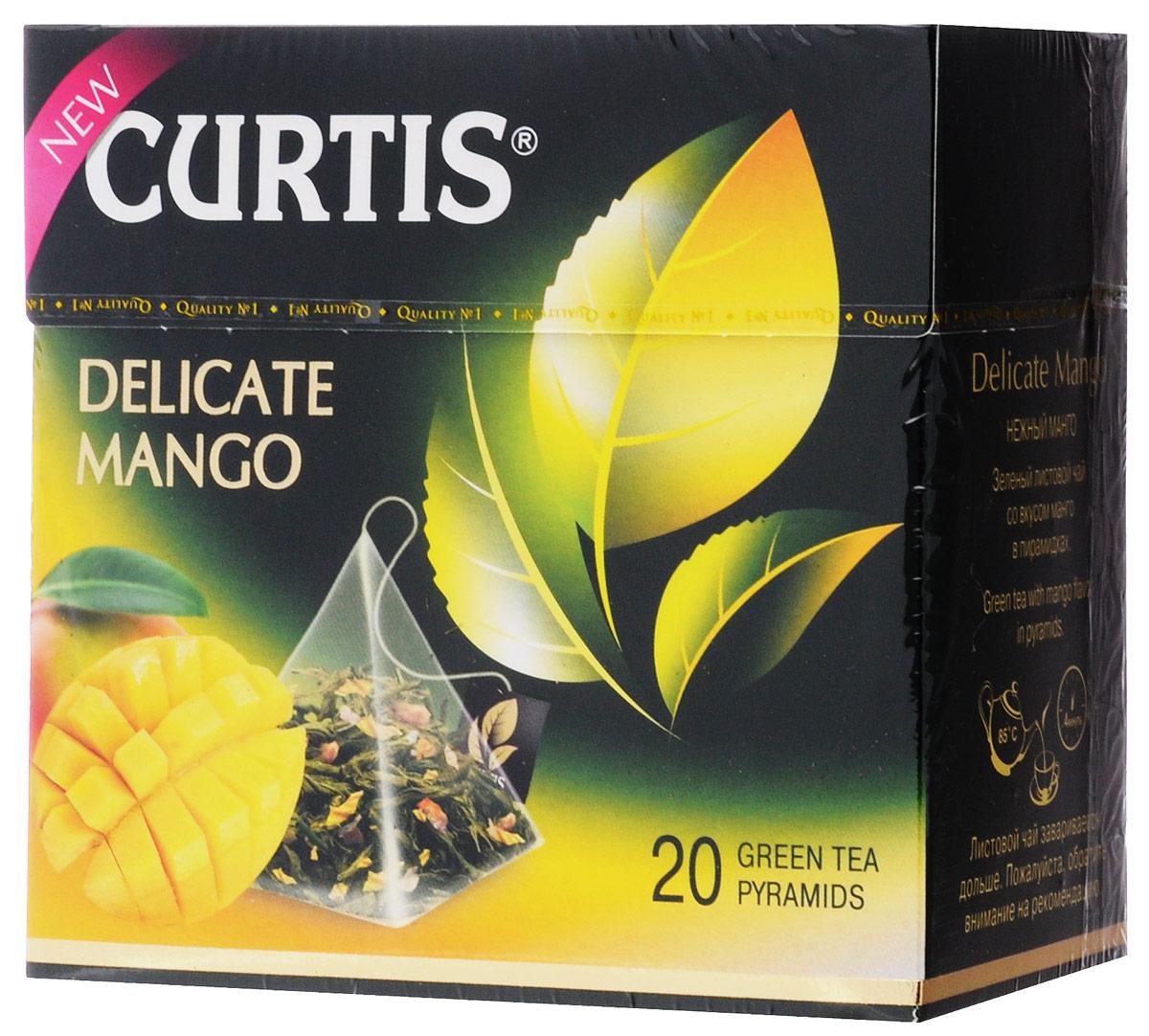 Curtis Delicate Mango зеленый чай в пирамидках, 20 шт4620015851051Тонкий и нежный зеленый чай в сочетании с экзотической сладостью манго - чудесные мгновения отдыха на берегу океана. Насладитесь обновленным купажом зеленого листового чая.