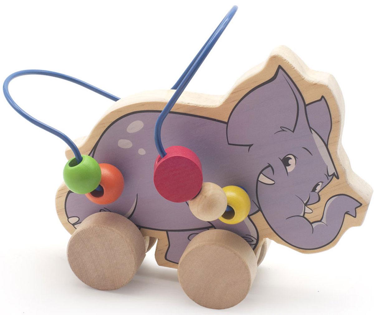 Мир деревянных игрушек Лабиринт-каталка СлонД368Лабиринт-каталка Мир деревянных игрушек Слон - это замечательная игрушка для малышей! Игрушка в виде веселого слона на колесиках выполнена из качественных материалов по европейским стандартам и покрыта специальной краской на водной основе, которая абсолютно безопасна для вашего малыша. Производитель использует только экологически чистую новозеландскую сосну для производства своих игрушек. Дерево проходит специальную обработку, после которой на модели не остается острых углов или шероховатых поверхностей, которые могут повредить кожу ребенка. К фигурке слона прикреплена изогнутая проволока, по которой свободно могут двигаться фигурки, различные по цвету и форме. Мелкие детали не снимаются. Благодаря большим деревянным колесам малыш сможет использовать игрушку и как каталку. Лабиринт-каталка развивает моторику рук, логическое мышление, а также знакомит малыша с основными цветами и формами.