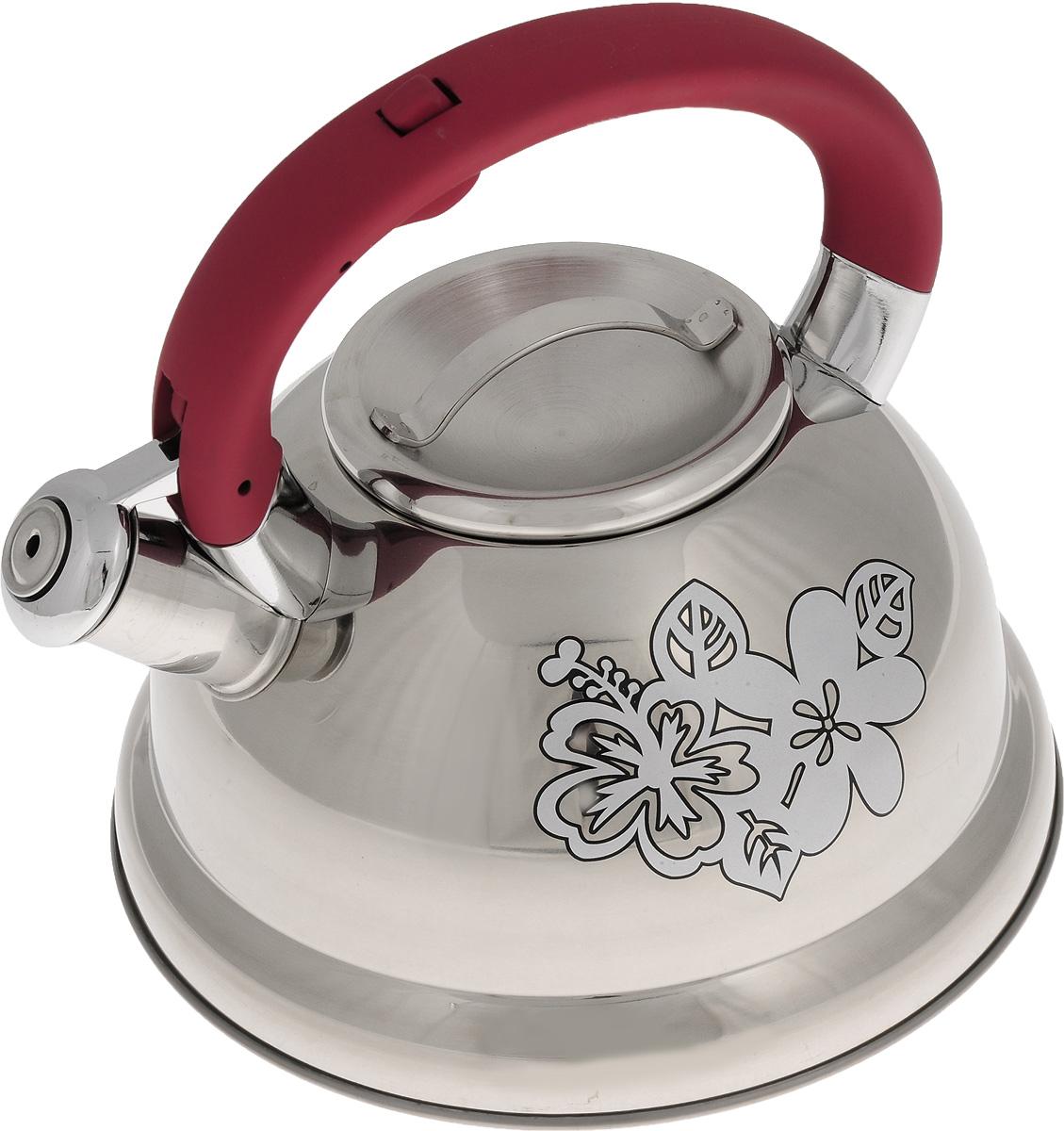 Чайник Mayer & Boch, со свистком, цвет: стальной, амарант, 2,6 л. 2278722787Чайник Mayer & Boch выполнен из высококачественной нержавеющей стали, что обеспечивает долговечность использования. Изделие оформлено изящным рисунком, который одновременно является индикатором цвета - при нагревании рисунок на корпусе меняет цвет. Ручка из бакелита делает использование чайника очень удобным и безопасным. Чайник снабжен свистком и кнопкой для открывания носика. Эстетичный и функциональный чайник будет оригинально смотреться в любом интерьере. Пригоден для использования на газовых, электрических, стеклокерамических и индукционных плитах. Можно мыть в посудомоечной машине. Диаметр чайника по верхнему краю: 10 см. Высота чайника (с учетом ручки): 20 см. Высота чайника (без учета ручки): 11,3 см.