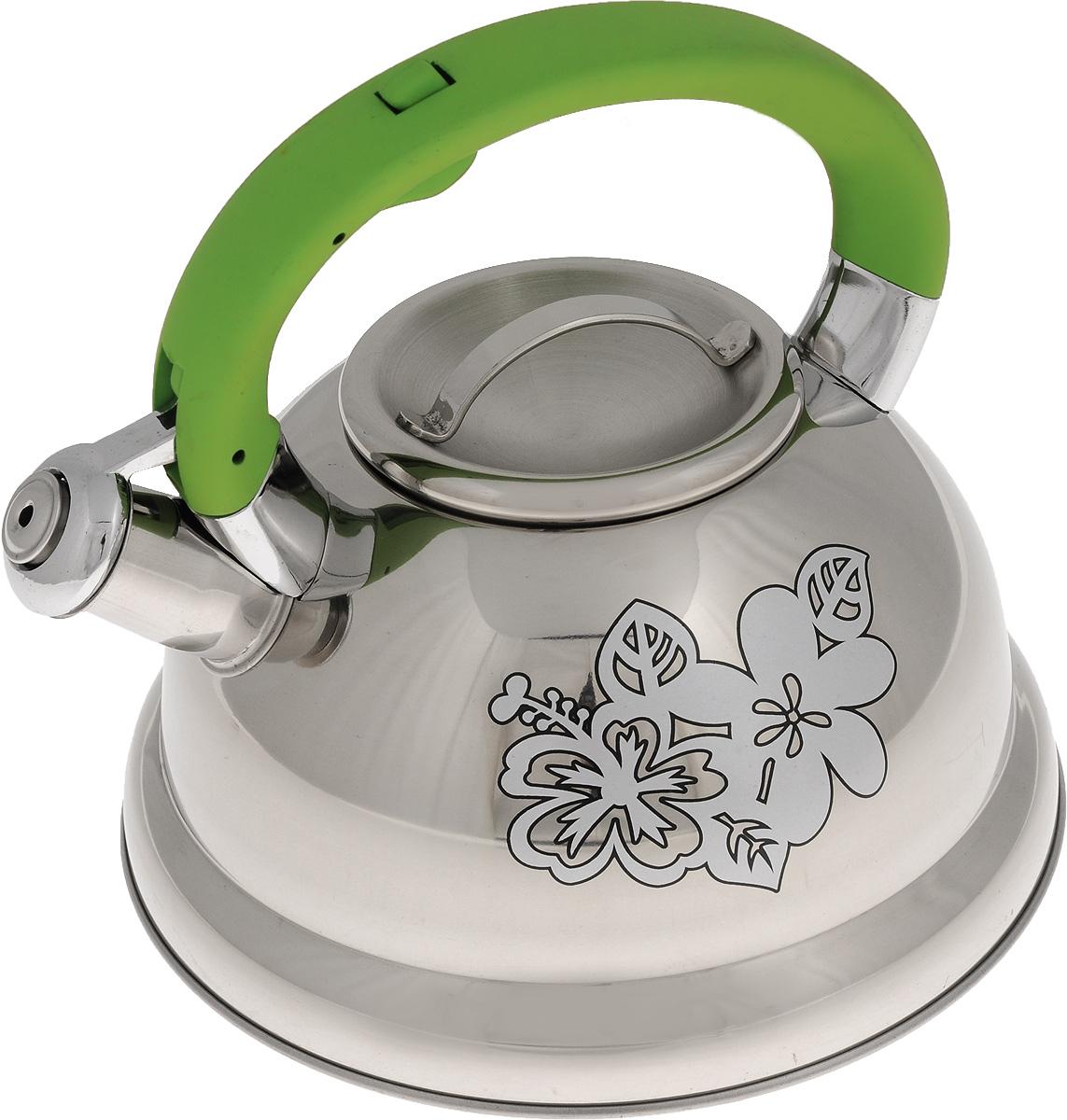 Чайник Mayer & Boch, со свистком, цвет: стальной, зеленый, 2,6 л. 2278822788Чайник Mayer & Boch выполнен из высококачественной нержавеющей стали, что обеспечивает долговечность использования. Изделие оформлено изящным рисунком, который одновременно является индикатором цвета - при нагревании рисунок на корпусе меняет цвет. Ручка из бакелита делает использование чайника очень удобным и безопасным. Чайник снабжен свистком и кнопкой для открывания носика. Эстетичный и функциональный чайник с эксклюзивным дизайном будет оригинально смотреться в любом интерьере. Пригоден для использования на газовых, электрических, стеклокерамических и индукционных плитах. Можно мыть в посудомоечной машине. Диаметр чайника по верхнему краю: 10 см. Высота чайника (с учетом ручки): 20 см. Высота чайника (без учета ручки): 11,3 см.