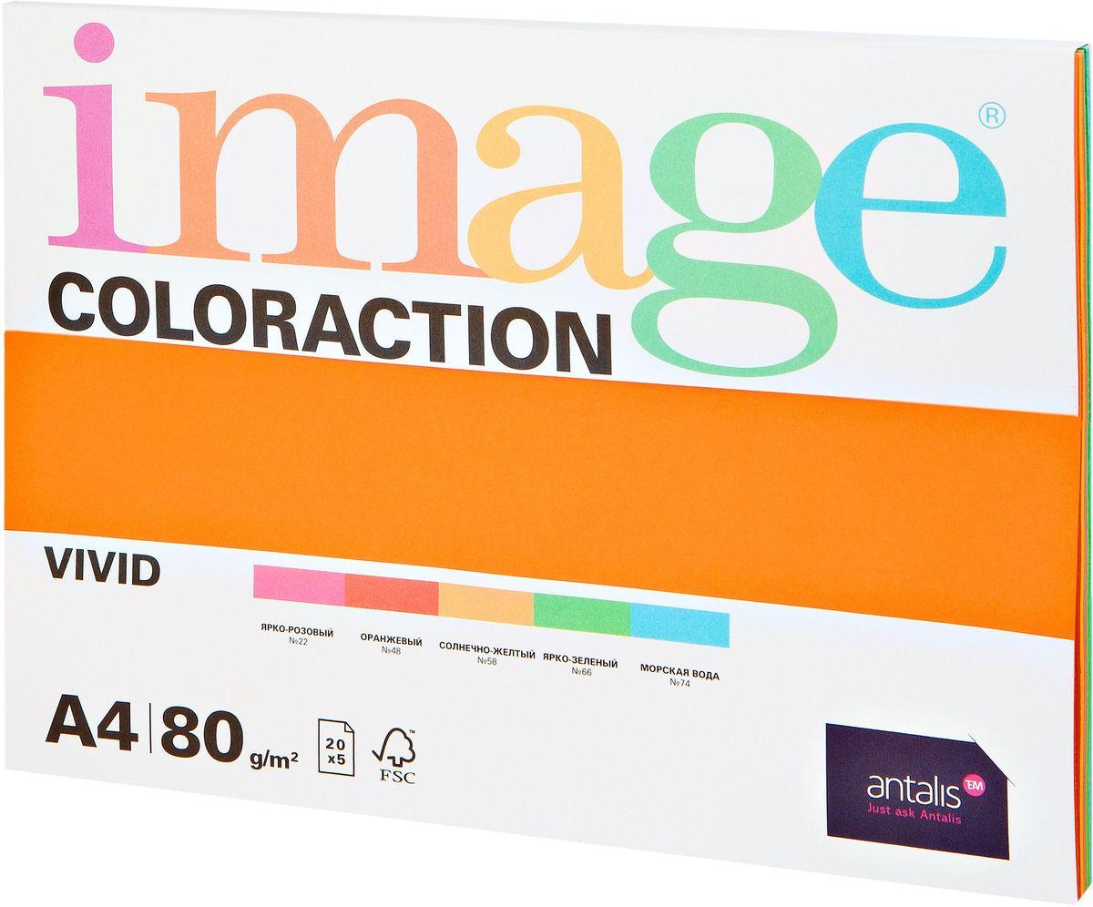 Image Бумага для принтера цветная Coloraction формат А4 100 листов яркая