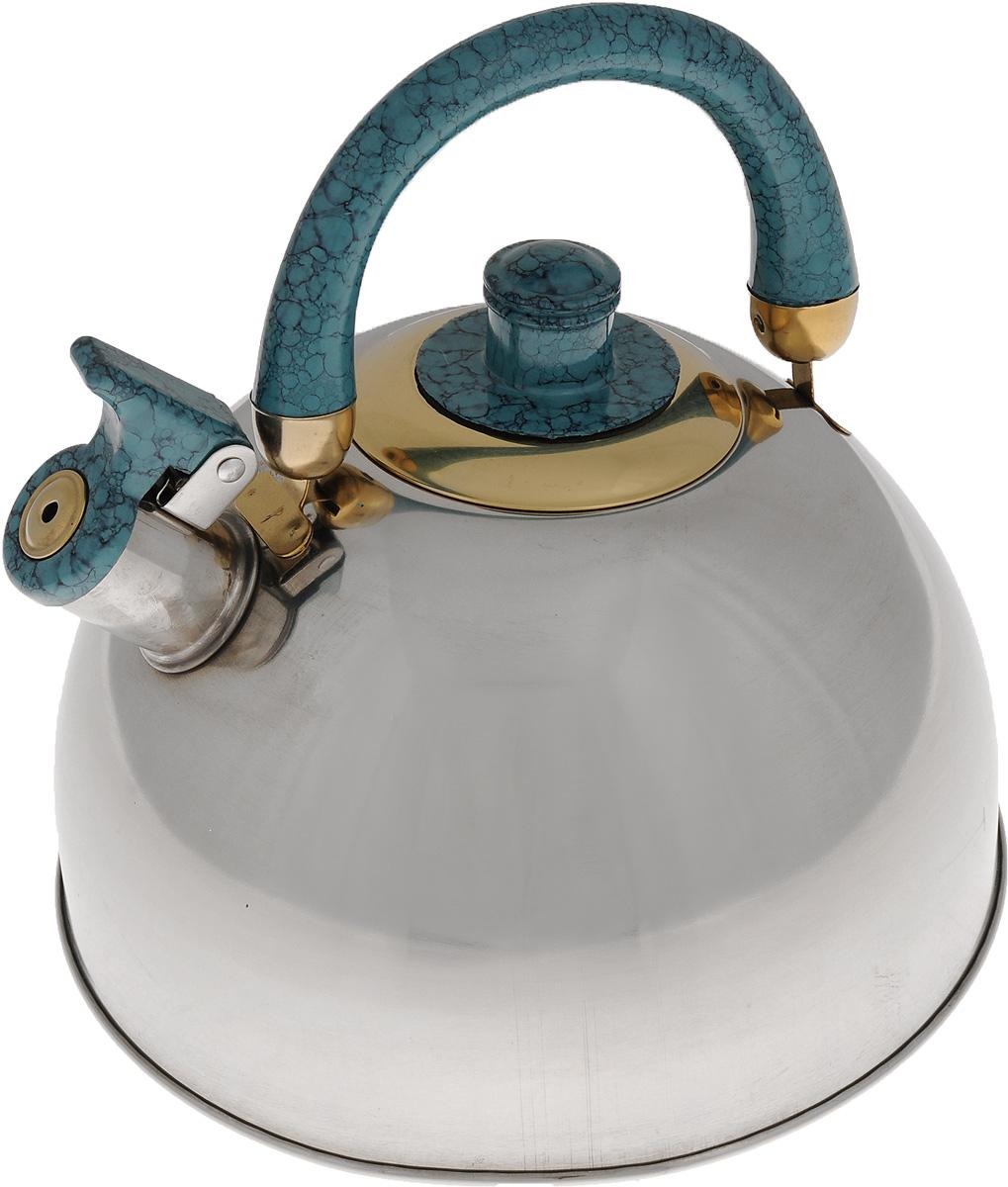 Чайник Mayer & Boch, со свистком, 4,5 л. 2043820438Чайник выполнен из высококачественной нержавеющей стали. Капсулированное дно с прослойкой из алюминия обеспечивает наилучшее распределение тепла. Носик чайника оснащен насадкой-свистком, что позволит вам контролировать процесс подогрева или кипячения воды. Пластиковая ручка зафиксирована, это дает дополнительное удобство при разлитии напитка, поверхность чайника гладкая, что облегчает уход, а блеск придает чайнику шикарный внешний вид. Эстетичный и функциональный, с эксклюзивным дизайном, чайник будет оригинально смотреться в любом интерьере. Чайник подходит для использования на всех типах плит. Можно мыть в посудомоечной машине. Диаметр (по верхнему краю): 9 см. Диаметр основания: 22 см. Высота стенки: 13 см.