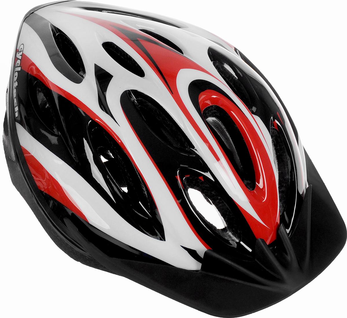 Шлем Cyclotech, цвет: черный, красный, белый. Размер MCHLO-15U-MШлем Cyclotech изготовлен по технологии OutMold, которая обеспечивает хорошее сочетание невысокой цены и достаточной технологичности. Увеличенное количество вентиляционных отверстий обеспечивает отличную циркуляцию воздуха на любой скорости при сохранении жесткости шлема. Верхняя часть изделия выполнена из прочного пластика, внутренняя - пенополистирол. Шлем снабжен универсальным внутренним настроечным кольцом и регулируемыми текстильными ремешками. Шлем соответствует международным стандартам безопасности и надежности.