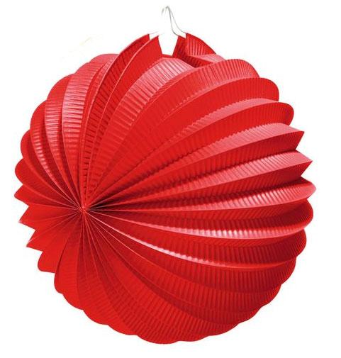 Фонарик бумажный Susy Card, цвет: красный, диаметр 22 см11141967Яркий гофрированный бумажный фонарик Susy Card, выполненный в виде шара, оснащен металлическим креплением, благодаря которому изделие можно подвесить в любом удобном для вас месте. Фонарик Susy Card украсит интерьер любого помещения и предаст неповторимую атмосферу радости вашему торжеству. Диаметр фонарика: 22 см.