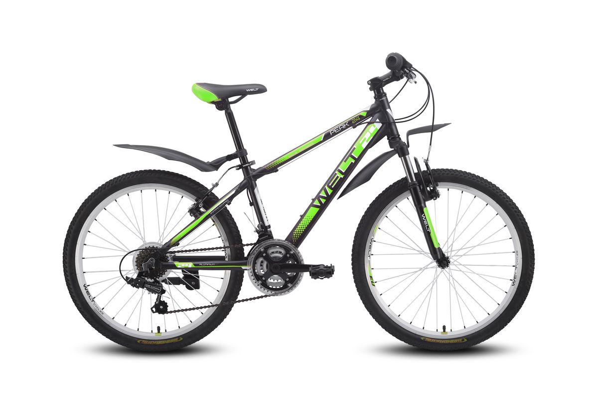 Детский велосипед Welt Peak 24, цвет: матовый черный, зеленый9333725115263Алюминиевый горный велосипед для подростков с ободными тормозами. Колеса размером 24 дюйма собраны на двойных ободах, которые помогут избежать деформаций после ударов и поездок по пересеченной местности. Облегченная алюминиевая рама из труб сложного профиля надежна, технологична и безопасна. Амортизационная вилка и 21 скоростная трансмиссия Shimano Tourney даст почувствовать себя настоящим райдером. Подножка и крылья в комплекте. Рама: Alloy 6061 Размер рамы, дюймы: one size Диаметр колес: 24 Кол-во скоростей: 21 Тип вилки: амортизационная Вилка: WELT ES-245 73 mm Пер. переключатель: Shimano TZ-30 Зад. Переключатель: Shimano TY-21 Шифтеры: Shimano RS-35 3x7spd Тип тормозов: V-brake Тормоза: CB-141 Система: 42/34/24 T 152mm Каретка: semi-cartridge Кассета: TriDaimond FW217B Тип рулевой колонки: 1-1/8 безрезьбовая Вынос: alloy, A-Head, 80mm Руль: steel low rise Ф25,4 580mm Ободья: alloy, double wall Покрышки: Wanda P1197 24x1,95 Втулки: YS w/QR ...