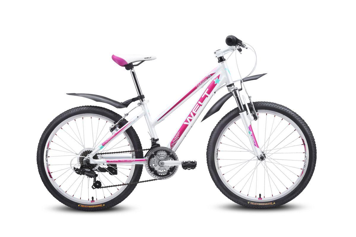Детский велосипед Welt Edelweiss 24, цвет: белый, пурпурный9333725115270Подростковая женская модель, которая не оставит равнодушными юных леди. В ней сочетаются спортивный стиль и дизайнерские элементы, ни чем не уступающие взрослым моделям. Современность, мода, комплектация, аналогичная базовым моделям взрослых горных велосипедов соединены здесь в единое целое. Алюминиевая рама выполнена из облегченного сплава с применением современных технологий. Амортизационная вилка и 21 скоростная трансмиссия Shimano Tourney обеспечат удобную и комфортную езду. Подножка и крылья в комплекте. Рама: Alloy 6061 Размер рамы, дюймы: one size Диаметр колес: 24 Кол-во скоростей: 21 Тип вилки: амортизационная Вилка: WELT ES-245 73 mm Пер. переключатель: Shimano TZ-30 Зад. Переключатель: Shimano TY-21 Шифтеры: Shimano RS-35 3x7spd Тип тормозов: V-brake Тормоза: CB-141 Система: 42/34/24 T 152mm Каретка: semi-cartridge Кассета: TriDaimond FW217B Тип рулевой колонки: 1-1/8 безрезьбовая Вынос: alloy, A-Head, 80mm Руль: steel low rise Ф25,4 580mm ...