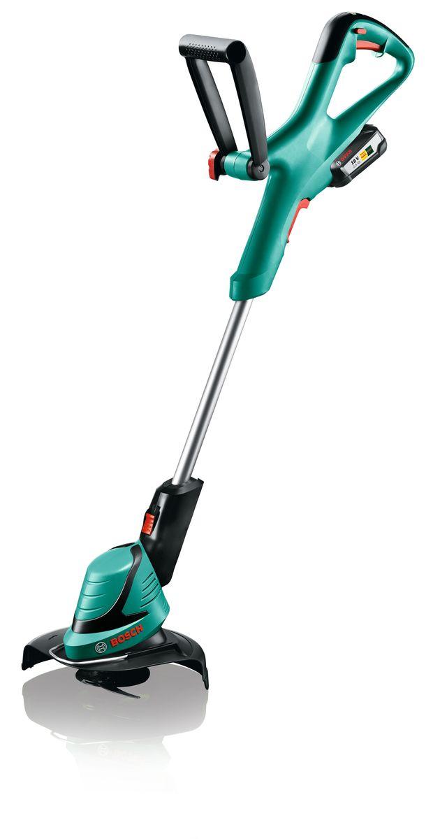 Аккумуляторный триммер Bosch ART 23-18 Li06008A5C06ART 23-18 LI — высококачественный аккумуляторный триммер для садоводов и домовладельцев, которые хотят поддерживать свой участок в порядке и придать ему ухоженный вид с минимальными затратами сил. Триммер ART 23-18 LI от Bosch — современный садовый инструмент, отличающийся высокой производительностью скашивания без ухудшения удобства использования. Этот триммер имеет ряд функций, в частности, долговечный аккумулятор, управление скоростями, долговечный нож, режущий траву в любых условиях, и функция полной регулировки, позволяющая адаптировать триммер к своим потребностям. Благодаря интеллектуальной системе Bosch Syneon Chip аккумулятор работает дольше, то есть, позволяет выполнять даже сложные работы. ART 23-18 LI — высококачественный аккумуляторный триммер, отличающийся превосходными характеристиками, необходимыми для получения выдающихся результатов. ART 23-18 LI питается от долговечного литий-ионного аккумулятора 18 В/2,5 А•ч, который поддерживает постоянное выходное напряжение...