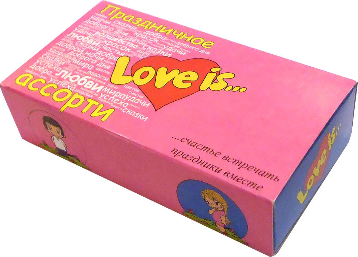 Ассорти из 5 вкусов.Двухслойная жевательная резинка и любимые всеми вкладыши. Украсьте Пожеланиями с Love Is любой день для своих любимых!