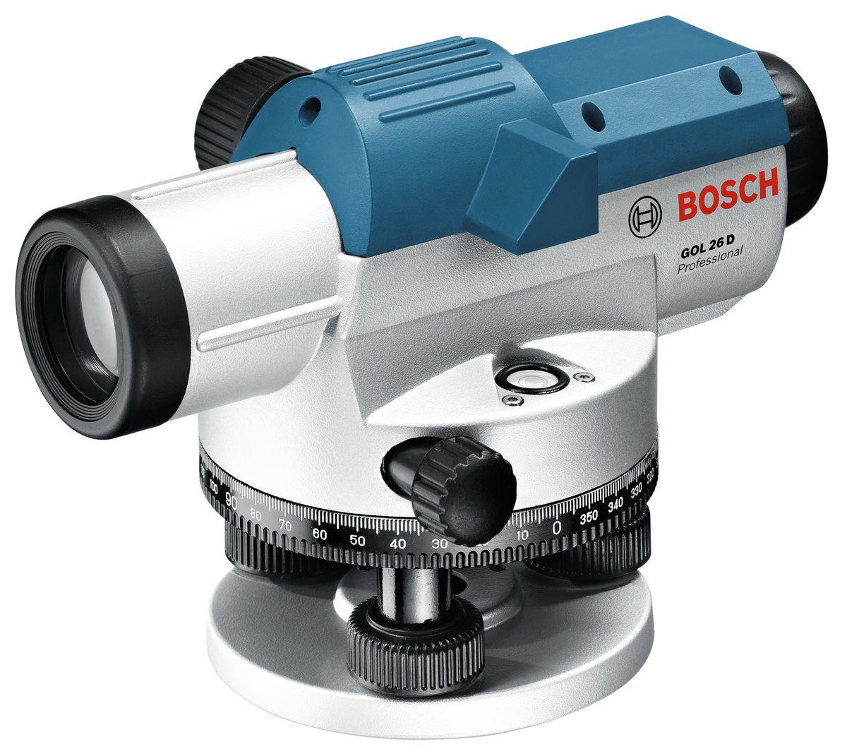 Оптический нивелир Bosch GOL 26AF-3401Технические характеристики Визир для грубого выравнивания Пентапризма для удобного контроля за сферическим уровнем Большая кнопка фокусировки для простого выравнивания Светосильный объектив для четкого прицеливания измерительной рейки Высокая точность (1,6 мм/30 м) при измерениях на больших расстояниях Бесконечный фрикционный привод (регулировка угла в градусах) с помощью проскальзывающей муфты с 2-сторонним управлением Вертикальное изображение Единица измерения 360 градусов Увеличение 26x Точность нивелирования 1,6 мм на 30 м Рабочий диапазон до 100 м Защита от пыли и водяных брызг IP 54 Резьба штатива 5/8 Комплектация: Ключ с внутренним шестигранником Отвес Комплект юстировочных инструментов Бленда Кейс