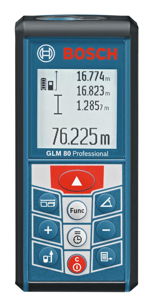 Лазерный дальномер Bosch GLM 80AF-3401Технические характеристики Автоматическое сохранение результатов последних 20 измерений и одной постоянной Подзарядка через стандартный разъем Micro-USB Включаемая функция таймера — для точного измерения в сложных условиях Маленький и удобный Надежный помощник на любой стройплощадке благодаря прочной конструкции Диапазон измерения 0,05 - 80 м Класс лазера 2 Точность измерения, стандарт. ± 1,5 мм Комплектация: Зарядное устройство 2609120420 Чехол