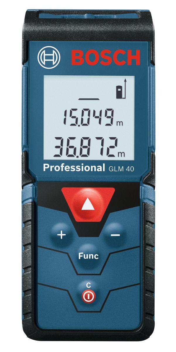 Лазерный дальномер Bosch GLM 40AF-3401Технические характеристики Диапазон измерения 0,15 - 40 м Класс лазера 2 Точность измерения, стандарт. +/- 1,5 мм Время измерения, стандарт. Комплектация: Чехол 2 батареи ААА 1,5 В LR03