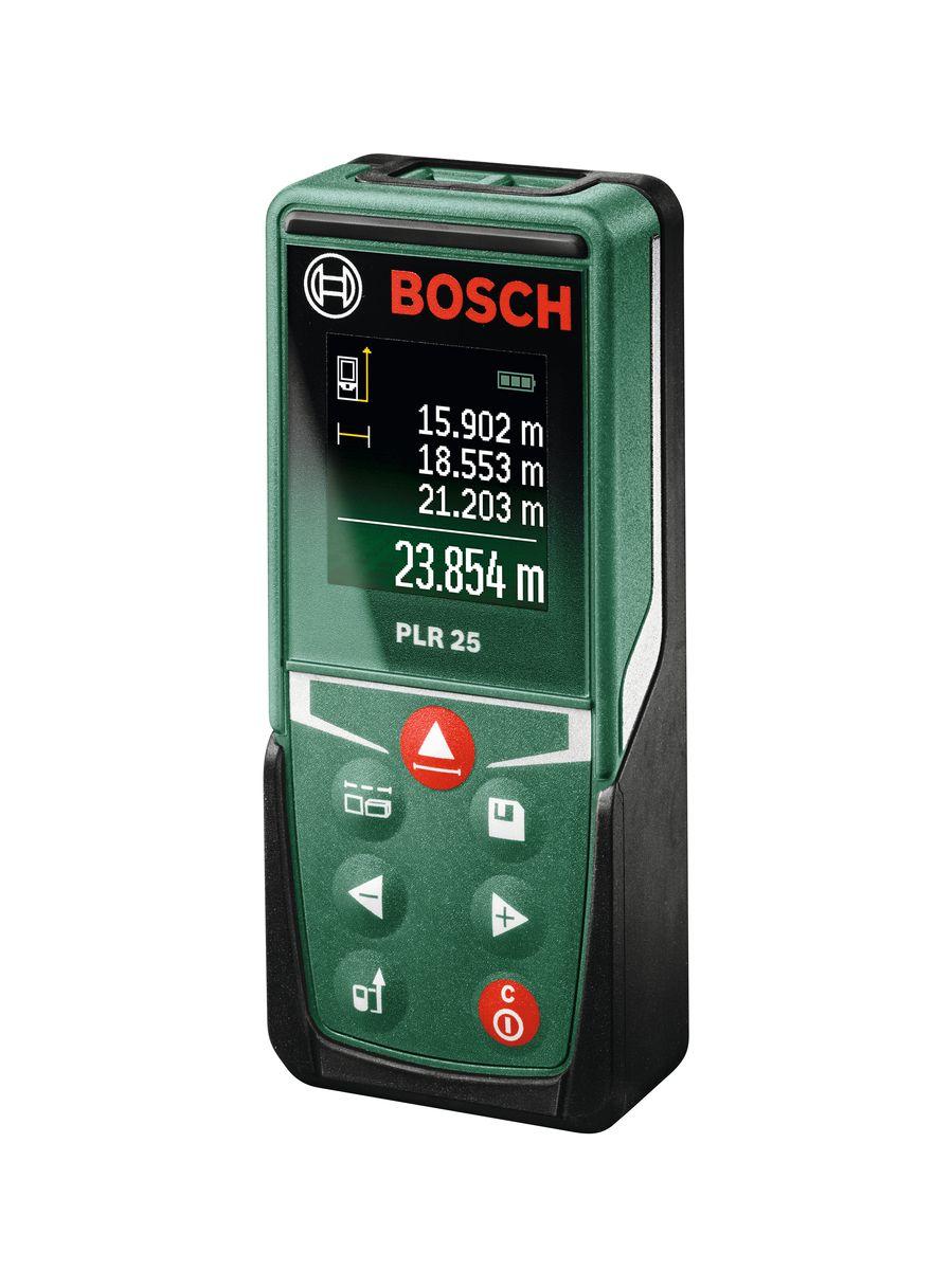 Лазерный дальномер Bosch PLR 25AF-3401С лазерным дальномером PLR 25 от Bosch домашние мастера смогут с высокой точностью и за считанные секунды измерять расстояния в диапазоне до 25 м. Высококачественный цветной дисплей имеет интуитивно понятный пользовательский интерфейс, что делает работу с инструментом исключительно легкой. Благодаря широкому набору функций домашние мастера будут готовы к выполнению любой задачи: в зависимости от выбранного режима с этим дальномером можно легко измерять расстояние, рассчитывать площадь, а также вычислять объем. Кроме того, инструмент позволяет вычитать и складывать результаты измерений. Это позволяет избежать утомительных промежуточных расчетов на бумаге и гарантирует точные результаты. Компактный дизайн и малый вес PLR 25 делают его незаменимым помощником при выполнении любых измерений — он легко помещается в кармане брюк или сумки, так что его легко брать с собой, например, при посещении мебельного магазина.