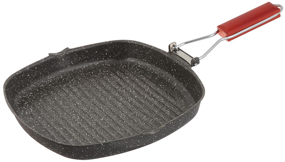 Сковорода-гриль Mayer & Boch, с антипригарным покрытием, со складной ручкой, 28 х 28 см. 2567325673Сковорода-гриль Mayer & Boch выполнена из высококачественной углеродистой стали. Она снабжена первоклассным антипригарным покрытием, препятствующим пригоранию, специальным рифленым дном для идеального контакта с поверхностью и складной деревянной ручкой для экономии места при хранении. Изделие имеет два носика для слива жидкости. Подходит для газовых, электрических, галогенных и индукционных плит. Длина ручки: 20 см. Размер сковороды-гриль: 28 х 28 х 4 см.