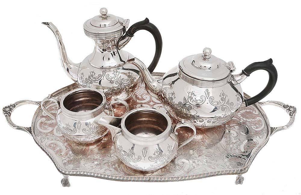 Чайно-кофейный набор из 5 предметов. Металл, глубокое серебрение E.P.N.S, гравировка. Sheffield, Великобритания, 1940-е гг.