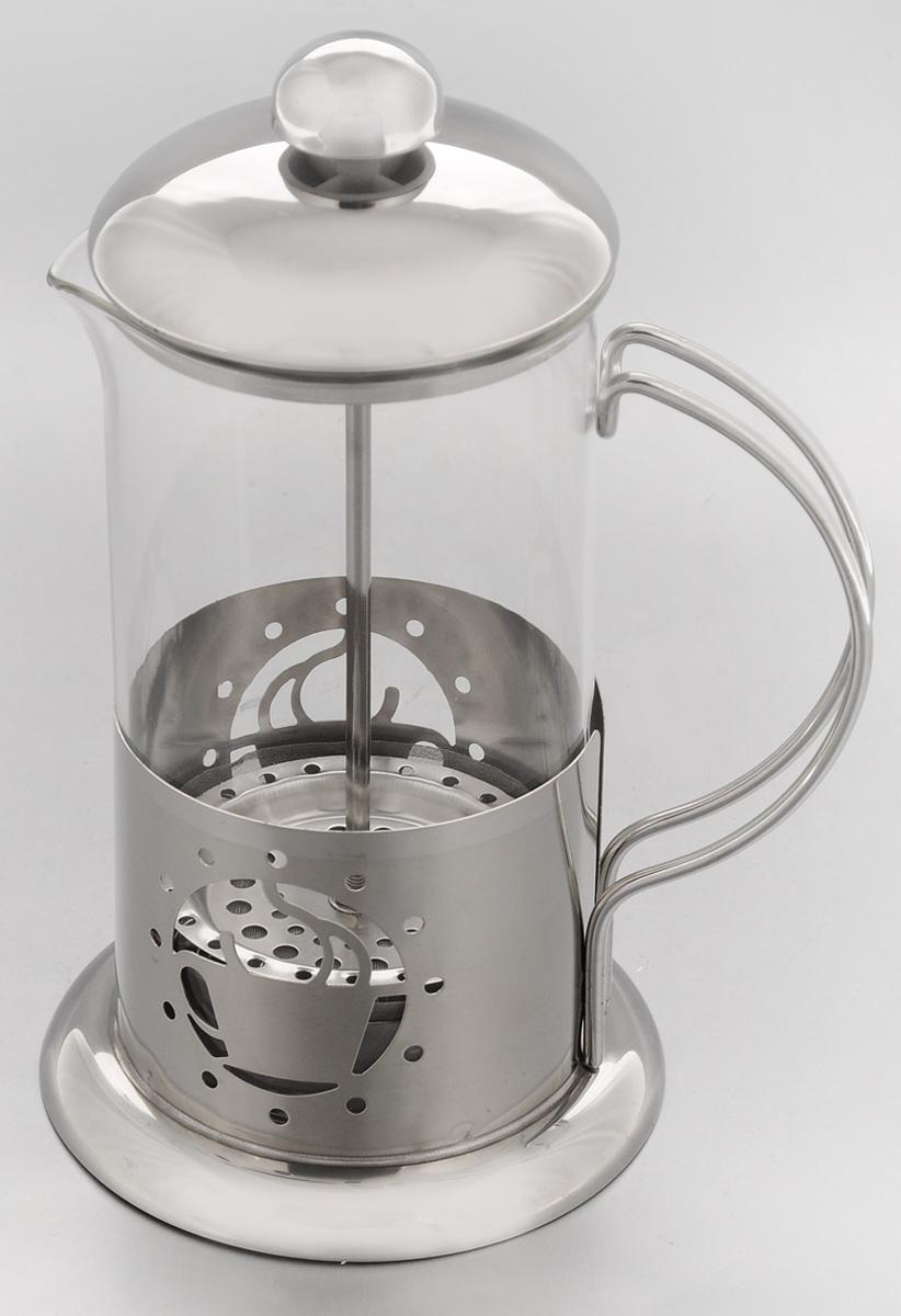 Френч-пресс Mayer & Boch, 600 мл. 2493324933Френч-пресс Mayer & Boch позволит быстро и просто приготовить свежий и ароматный чай или кофе. Колба изготовлена из высококачественного жаропрочного стекла, устойчивого к окрашиванию, царапинам и термошоку. Фильтр-поршень из нержавеющей стали выполнен по технологии press-up для обеспечения равномерной циркуляции воды. Подставка из нержавеющей стали декорирована оригинальной перфорацией в виде чашки. Готовить напитки с помощью френч-пресса очень просто. Насыпьте внутрь заварку и залейте кипятком. Остановить процесс заваривания легко. Для этого нужно просто опустить поршень, и заварка уйдет вниз, оставляя вверху напиток, готовый к употреблению. Френч-пресс - это совершенный чайник для ежедневного использования. Диаметр колбы: 9 см. Диаметр основания френч-пресса: 11 см. Высота (с учетом крышки): 21 см.