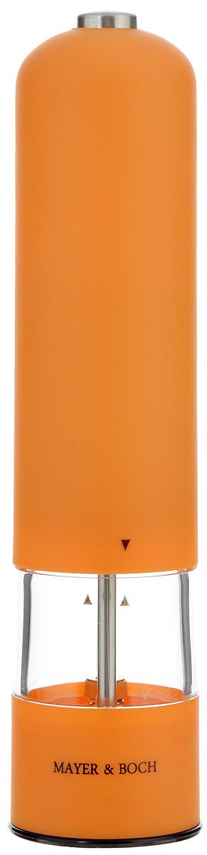 Перцемолка электрическая Mayer & Boch, высота 23 см24165Перцемолка электрическая Mayer & Boch подходит для хранения и помола любых видов приправ, таких как перец горошком или крупная соль. Корпус изделия выполнен из пластика с прорезиненным, приятным на ощупь покрытием. Емкость изготовлена из прозрачного акрила. Мелющий механизм с регулируемой грубостью помола произведен из первоклассной нержавеющей стали. Еще одной особенностью данной перцемолки является подсветка крышки. Имеется как ручной, так и автоматический режим. Такая перцемолка прекрасно подходит для использования на кухне и для сервировки стола. Работает от 4 батареек типа АА (в комплект не входят).