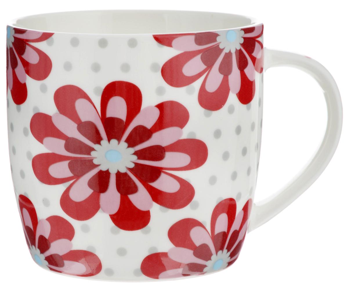Кружка Loraine, цвет: белый, красный, 320 мл. 2448324483Оригинальная кружка Loraine выполнена из высококачественного костяного фарфора и оформлена красочным рисунком. Она станет отличным дополнением к сервировке семейного стола и замечательным подарком для ваших родных и друзей. Диаметр кружки (по верхнему краю): 8,5 см.