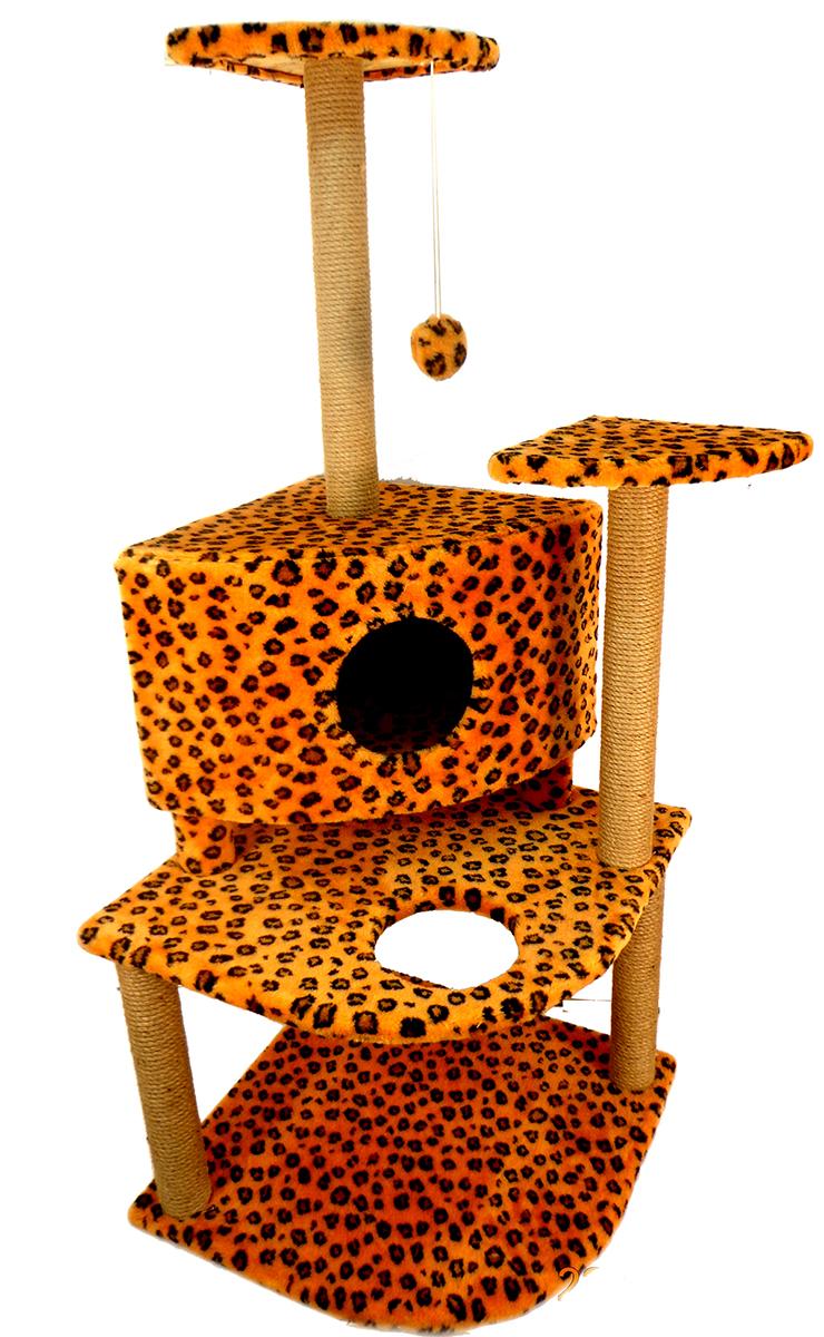 """Игровой комплекс для кошек """"Меридиан"""", с домиком и когтеточкой, цвет: леопардовый, 55 х 53 х 150 см"""