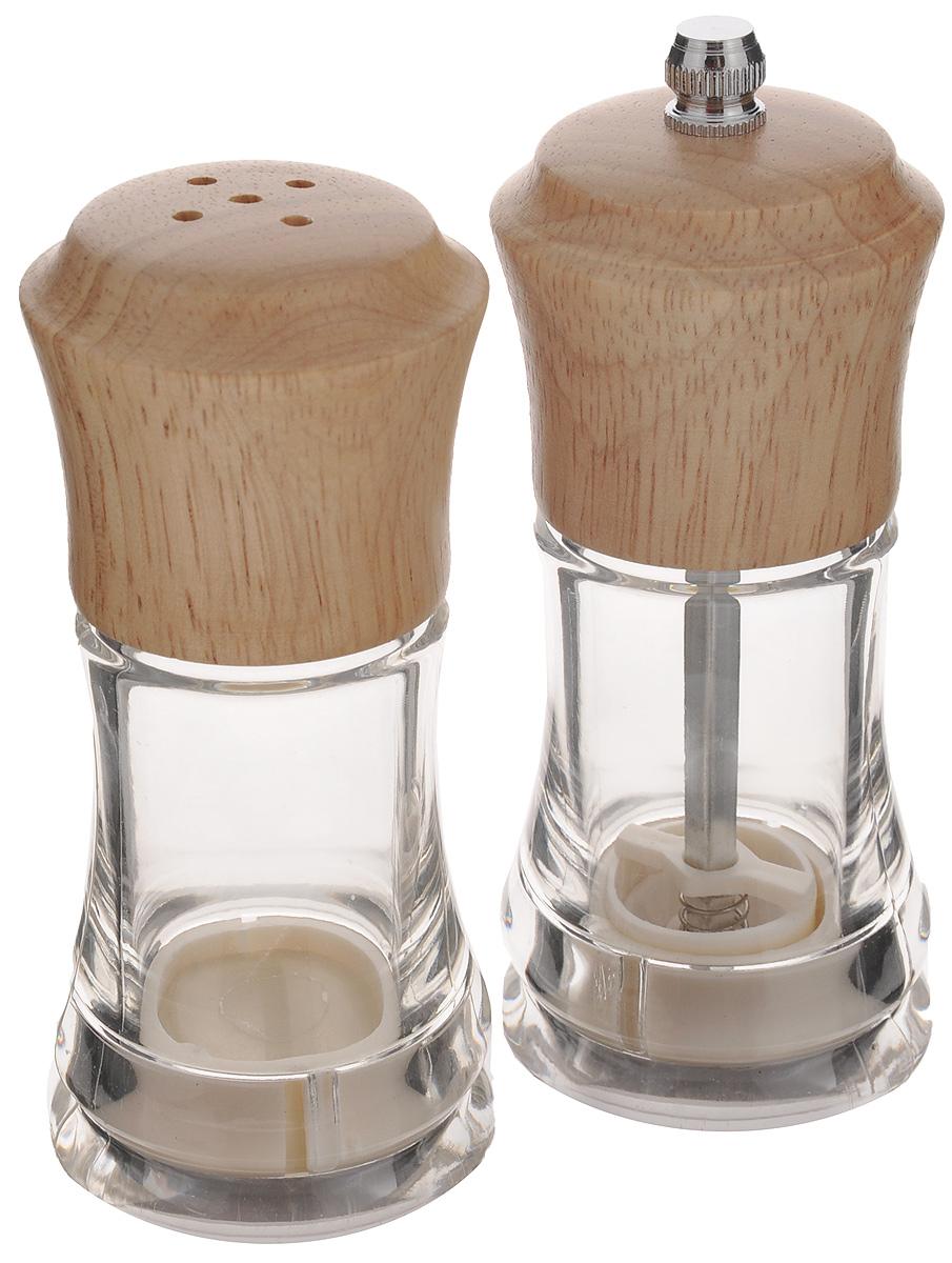 Набор для специй Mayer & Boch, 2 предмета. 2389323893Набор для специй Mayer & Boch прекрасно подходит для сервировки стола и использования на кухне. Он состоит из солонки и перцемолки. Емкости надолго сохранят специи свежими и ароматными. Изделия выполнены из дерева и снабжены прозрачными акриловыми емкостями, которые позволяет видеть содержимое. Перцемолка с механизмом помола из керамики и металла идеально подходит для перца горошком, крупных кристаллов соли и других немолотых специй. Необычный оригинальный дизайн стильно дополнит интерьер кухни. Наслаждайтесь приготовлением пищи вместе с набором для специй Mayer & Boch. Размер солонки: 5 х 5 х 12 см. Размер перцемолки: 5 х 5 х 13 см.