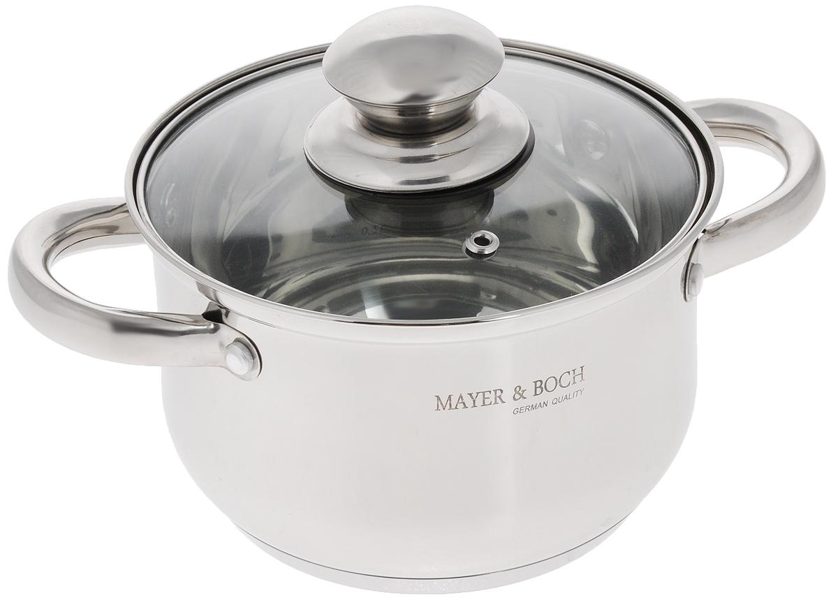 Кастрюля Mayer & Boch с крышкой, 2,1 л. 2143121431Кастрюля Mayer & Boch изготовлена из высококачественной нержавеющей стали с зеркальной полировкой. Многослойное капсулированное дно аккумулирует тепло, способствует быстрому закипанию и приготовлению пищи даже при небольшой мощности конфорок. Кастрюля оснащена удобными ручками из нержавеющей стали. Ручки прикреплены к корпусу на клепки, что обеспечивает прочность, надежность и минимальный нагрев. Крышка, выполненная из термостойкого стекла, позволит вам следить за процессом приготовления пищи. Крышка оснащена металлическим ободом и отверстием для выпуска пара. Кастрюля идеальна для приготовления здоровой пищи с минимальным количеством жира, что обеспечивает снижение потери полезных витаминов, минеральных веществ и сохраняет аромат приготовляемых блюд. Кастрюля очень удобна в использовании, практична и элегантна, ее легко чистить и мыть. Кастрюлю можно использовать на любых видах плит, включая индукционные, а также мыть в посудомоечной машине. ...