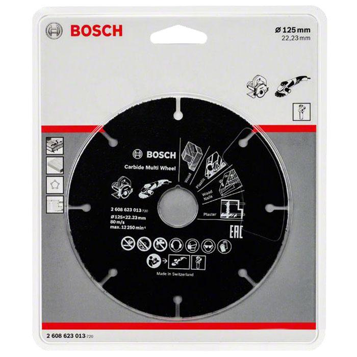 Отрезной круг Bosch, по дереву/пластику, для УШМ, 125 мм2608623013Отборное высококачественное твердосплавное зерно определенного размера обеспечивает многофункциональность, скорость и продолжительный срок службы диска Tонкое тело диска и демпфирующие прорези обеспечивают уникальную скорость и позволяют избежать деформации диска Высокопрочное соединение стали и твердосплавного зерна путем лазерной пайки обеспечивает стойкость диска и безопасность Применение – быстрый грубый пропил в материалах: Мягкое дерево, грубый пропил и поперечный рез Твердое дерево, грубый пропил и поперечный рез Пиломатериалы, брус Пиломатериалы с гвоздями и цементной крошкой Клееная фанера ДСП МДФ Ламинат Пластик Гипсокартон Материалы из cтекловолокна