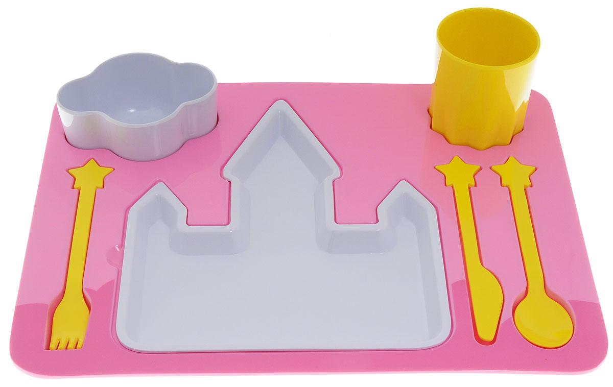 Doiy Поднос-сервиз детский Princess 7 предметовDYDINNEPRУсадить за стол непоседливое дитя? Невозможно! - скажете вы и будете совершенно правы. Но задачу надо выполнить, никуда не денешься. Специально для маленьких непосед придуман вот такой замечательный поднос. В импровизированный домик можно положить основное блюдо, а в миску-облачко можно положить дополнительные вкусности. Солнышко является отличным стаканчиком. Также в комплекте имеются столовые приборы (ложка, вилка, ножик). Набор Doiy Princess изготовлен из меламина. Изделия можно мыть в посудомоечной машине. Не рекомендуется использование в микроволновой печи. Объем стакана: 200 мл.