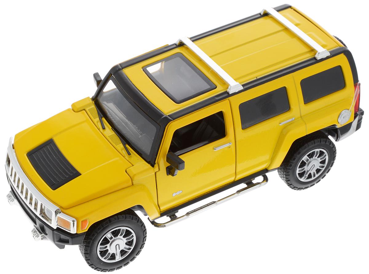 Maxi Toys Модель автомобиля Hummer Н3CP-68240A_желтыйМашинка Maxi Toys Hummer Н3 выполненная из пластика и металла, станет любимой игрушкой вашего ребенка. Игрушка представляет собой уменьшенную копию автомобиля марки Hummer. Передние дверцы, капот и багажник открываются. Во время движения вперед, у автомобиля светятся фары, при движении назад и при торможении включаются стоп-сигналы. При движение автомобиля, слышен звук мотора. Руль вращается и поворачивает колеса. Машинка оснащена инерционным ходом. Необходимо просто отвести назад, затем отпустить - и она быстро поедет вперед. Прорезиненные колеса обеспечивают надежное сцепление с любой гладкой поверхностью. Ваш ребенок будет часами играть с этой машинкой, придумывая различные истории. Порадуйте его таким замечательным подарком! Рекомендуется докупить 3 батарейки типа AG13 (товар комплектуется демонстрационными).