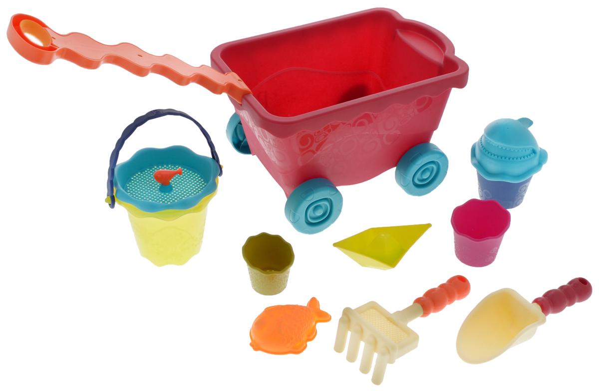 B.Summer Игрушка для песочницы Тележка с игровым набором цвет красный68715Игрушки Battat популярны во всем мире и выпускаются уже на протяжении 100 лет. Это уникальные игрушки, сделанные из инновационных материалов, представляющих собой что-то среднее между латексом и пластиком. Игрушки Battat имеют неповторимый дизайн, максимально безопасны и надежны и, что не менее важно, обладают высоким развивающим потенциалом. Ура-а-а-а! Лето! Побросаем все в тележку и быстрей на пляж! - Тележка с забавной ручкой. - Сито. - Лодка. - Форма «рыбка». - Грабли. - Лопата. - Мини-ведерко. - Цвет и содержимое может быть изменено.