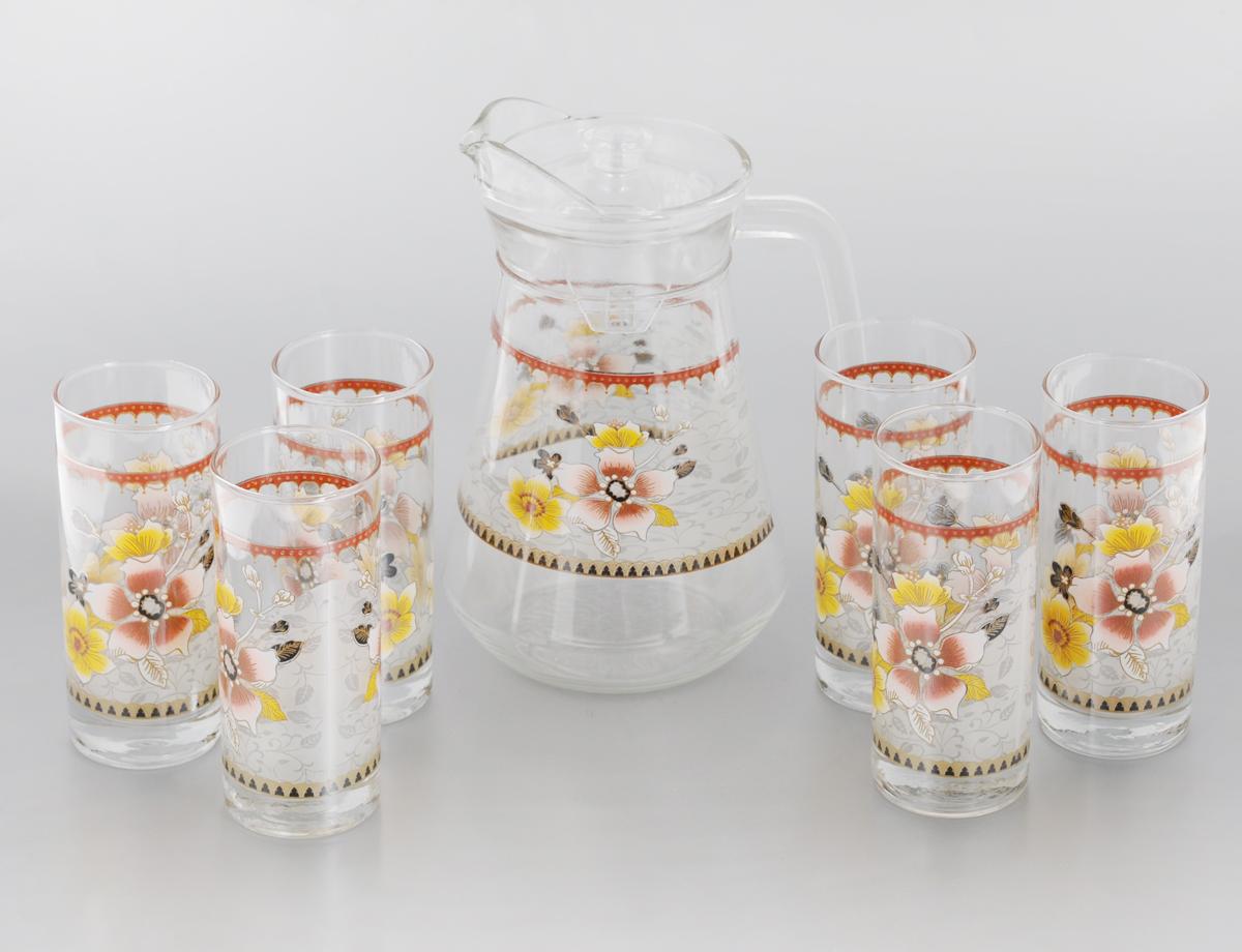 Набор питьевого стекла Loraine, 7 предметов. 2406524065Набор Loraine состоит из 6 стаканов и кувшина, выполненных из высококачественного стекла. Изделия декорированы изысканным цветочным рисунком. Благодаря такому набору пить напитки будет еще вкуснее. Набор Loraine станет также отличным подарком на любой праздник. Подходит для горячих и холодных напитков. Идеальный дизайн для классической сервировки стола. Не рекомендуется мыть в посудомоечной машине. Объем стакана: 285 мл. Диаметр стакана (по верхнему краю): 6 см. Высота стакана: 14 см. Объем кувшина: 1,3 л. Высота кувшина: 21 см. Диаметр (по верхнему краю): 10 см.
