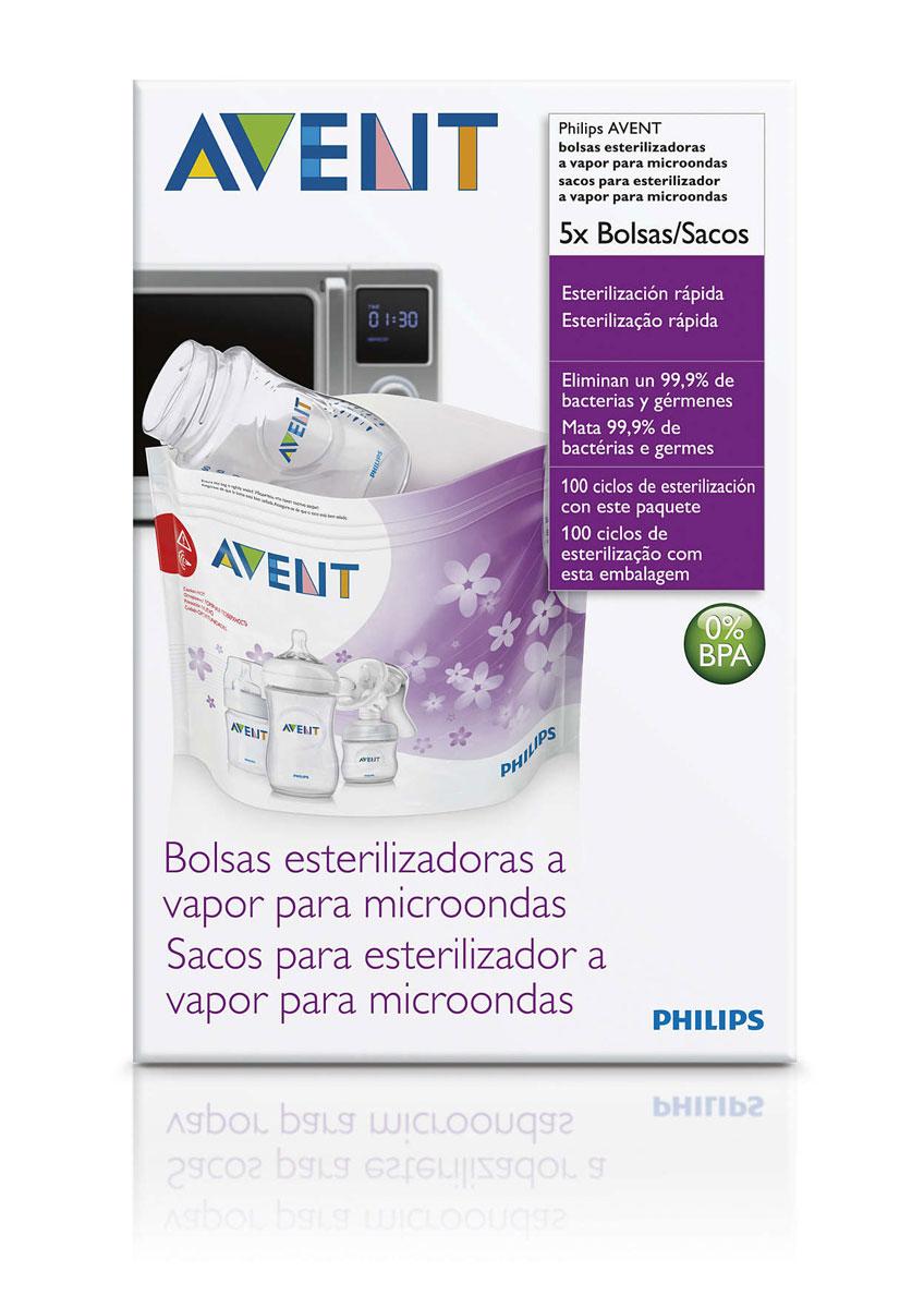 Philips Avent Пакеты для стерилизации в микроволновой печи, 5 шт SCF297/05SCF297/05Для более эффективной стерилизации в пакете предусмотрено окошко, с помощью которого можно проверить расположение изделия внутри пакета. Одна упаковка содержит 5 пакетов для микроволновой печи, каждый из которых можно использовать не менее 20 раз. В специальном поле можно отмечать, сколько раз был использован продукт. Стерилизация бутылочек, молокоотсосов и других детских изделий всего за 90 секунд! Эффективный результат - уничтожение 99,9 % микробов и бактерий. Пакеты для стерилизации Philips Avent имеют область, с помощью которой их можно безопасно извлечь из микроволновой печи после завершения цикла стерилизации. Удобство использования без риска получения ожога. На каждом пакете изображены пошаговые инструкции. Стерилизация одновременно до трех бутылочек или одного молокоотсоса.