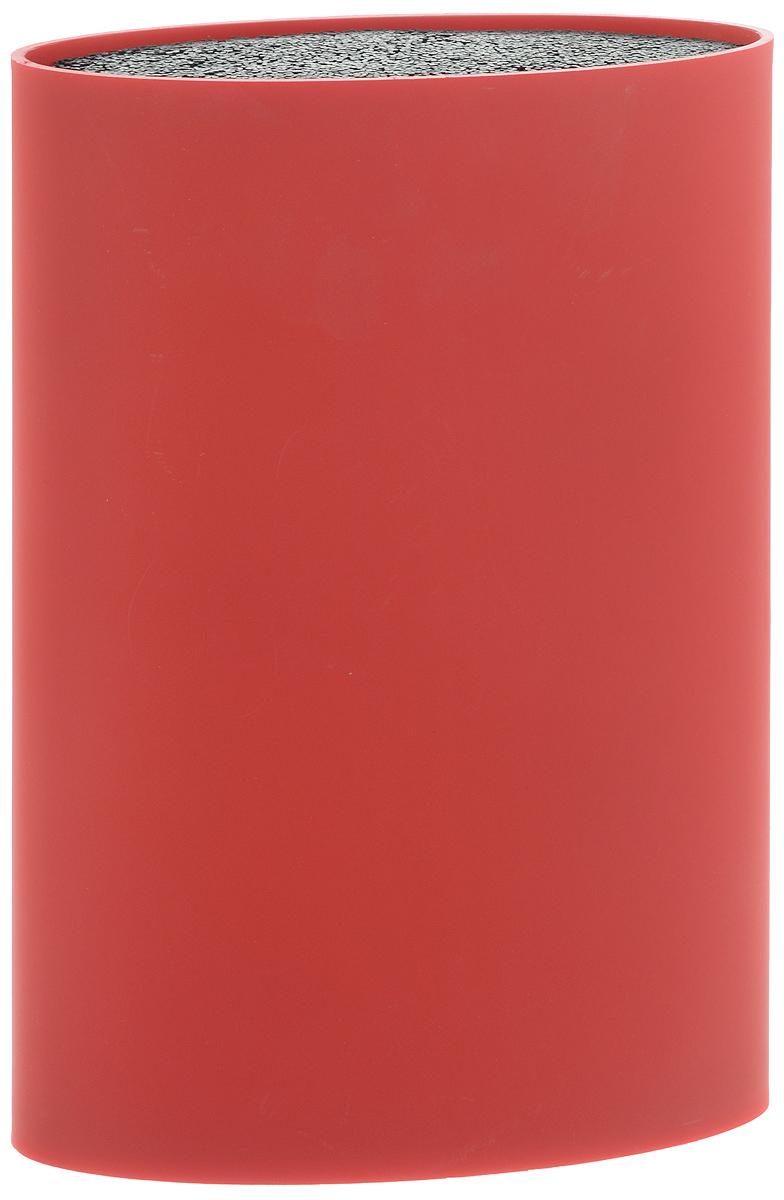 Подставка для ножей Mayer & Boch, цвет: красный, высота 22 см24896Подставка для ножей Mayer & Boch представляет собой емкость овальной формы с гибкими полипропиленовыми стержнями внутри. Это позволяет хранить ножи любой формы, вне зависимости от их размеров или формы лезвия. Размещайте ножи в любом месте блока-подставки, просто воткнув их в нее. Вы также можете комбинировать ножи из разных наборов. Цветной пластиковый корпус подставки имеет покрытие Soft-touch. Подставка сохранит остроту ножей за счет того, что ножи не царапаются об нее. Эта легкая, безопасная и удобная подставка отлично дополнит интерьер кухни. Стержни можно мыть в посудомоечной машине.
