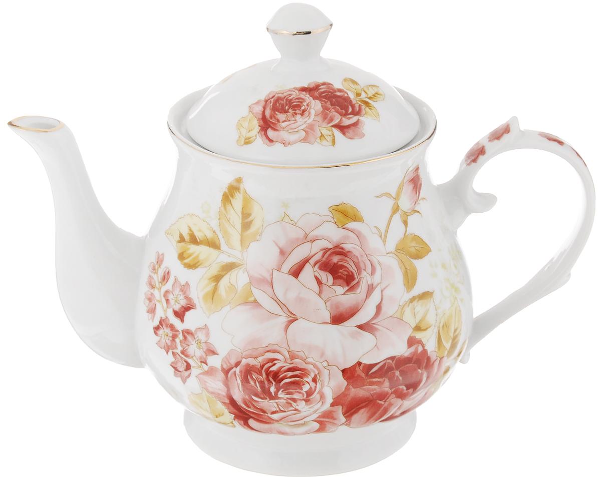 Чайник заварочный Loraine, 800 мл. 2457824578Заварочный чайник Loraine изготовлен из керамики белого цвета. Чайник декорирован изображением цветов, носик чайника и крышка оформлены золотистой эмалью. Заварочный чайник поможет вам в приготовлении вкусного и ароматного чая, а также станет украшением вашей кухни. Яркий дизайн придает чайнику особый шарм, он удобен в использовании и понравится каждому. Такой заварочный чайник станет приятным и практичным подарком на любой праздник. Чайник упакован в подарочную коробку. Диаметр (по верхнему краю): 9 см. Высота (без учета крышки): 11,5 см.