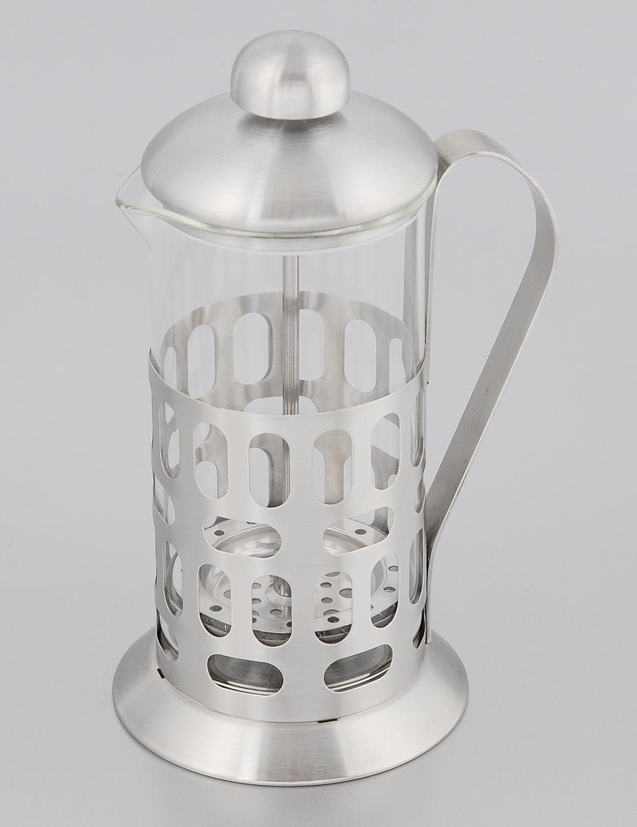 Френч-пресс Mayer & Boch, 350 мл. 22892289Френч-пресс Mayer & Boch позволит быстро и просто приготовить свежий и ароматный чай или кофе. Колба изготовлена из высококачественного жаропрочного боросиликатного стекла, устойчивого к окрашиванию, царапинам и термошоку. Фильтр-поршень из нержавеющей стали выполнен по технологии press-up для обеспечения равномерной циркуляции воды. Подставка из матовой нержавеющей стали декорирована оригинальной перфорацией. Готовить напитки с помощью френч-пресса очень просто. Насыпьте внутрь заварку и залейте кипятком. Остановить процесс заваривания легко. Для этого нужно просто опустить поршень, и заварка уйдет вниз, оставляя вверху напиток, готовый к употреблению. Заварочный чайник с прессом - это совершенный чайник для ежедневного использования. Можно мыть в посудомоечной машине. Не подходит для использования в микроволновой печи. Диаметр колбы: 7,5 см. Диаметр основания френч-пресса: 9 см. Высота (с учетом крышки): 19 см.