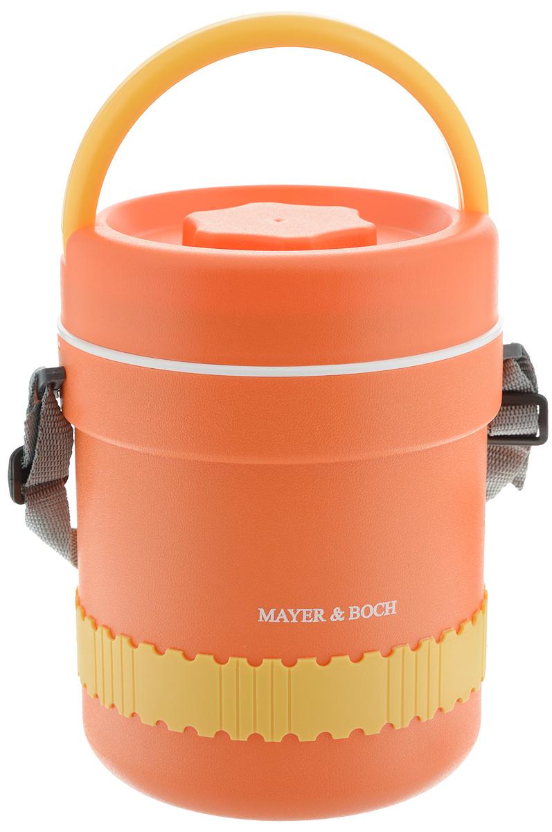 Термос пищевой Mayer & Boch, с 3 контейнерами, 2,4 л23795Термос пищевой Mayer & Boch станет прекрасным дополнением к набору ваших кухонных принадлежностей и, несомненно, пригодится во время поездок и выездов на природу. Термос предназначен для длительного хранения горячих блюд, сохраняя нужную температуру до 5 часов. Цветной корпус выполнен из пищевого полипропилена (пластика). Внутренний резервуар изготовлен из высококачественной нержавеющей стали 430, не вступающей в реакцию с продуктами и не искажающей вкус приготовленных блюд. В широкое горлышко термоса помещены три контейнера с крышками, изготовленные из пищевого пластика белого цвета. Крышки легко открываются и плотно закрываются. Это идеальный вариант для переноски сразу нескольких разных блюд. В комплекте также предусмотрены столовые приборы (пластиковые ложка и вилка), которые хранятся в специальном футляре сбоку термоса. Благодаря текстильному ремню для переноски и подвижной ручке, термос легко и удобно транспортировать. Данный термос обладает не только...